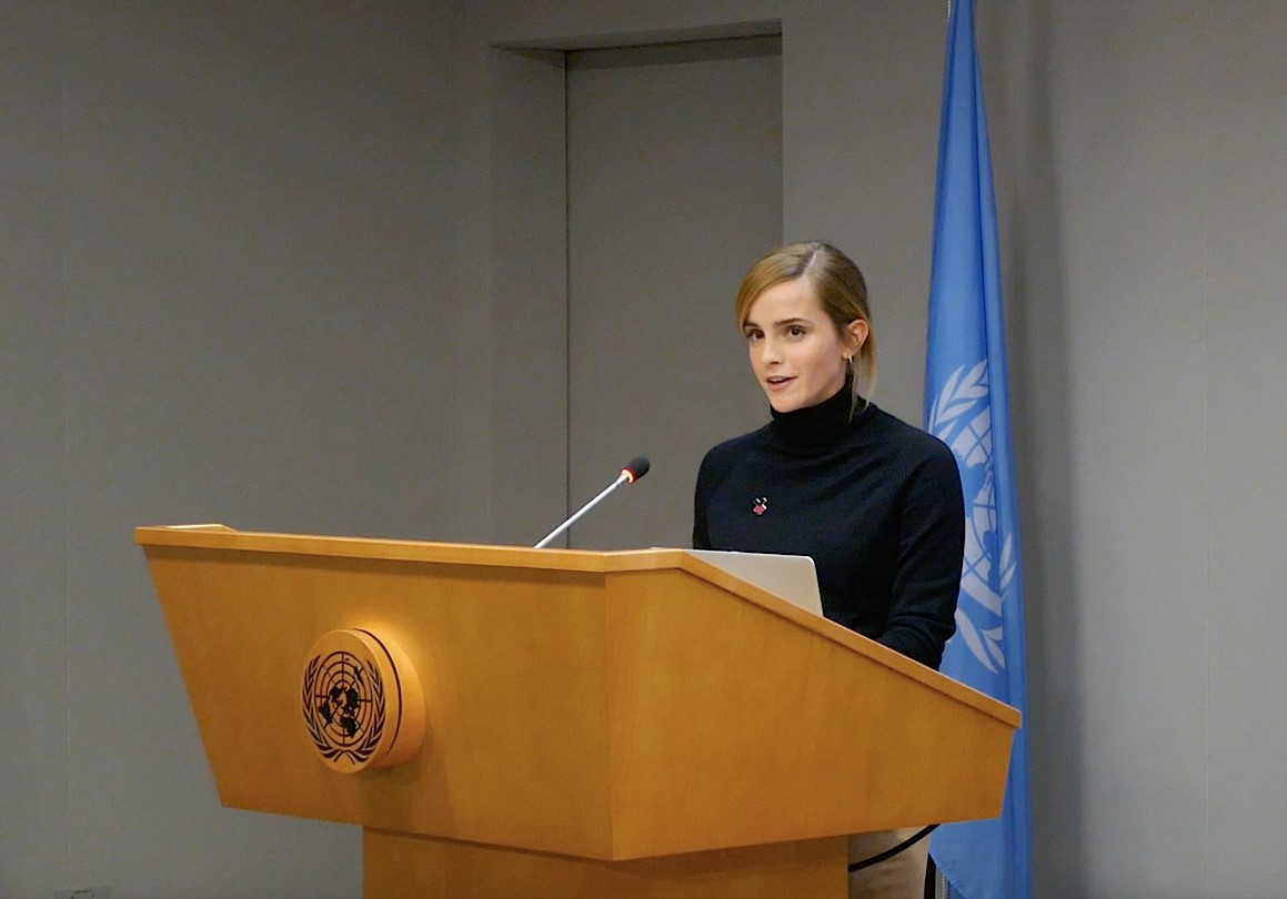 UN Women Goodwill Ambassador actress Emma Watson makes a speech at the launch of the HeForShe IMPACT 10x10x10 University Parity Report at the United Nations headquarters in New York City on Sept. 20, 2016.