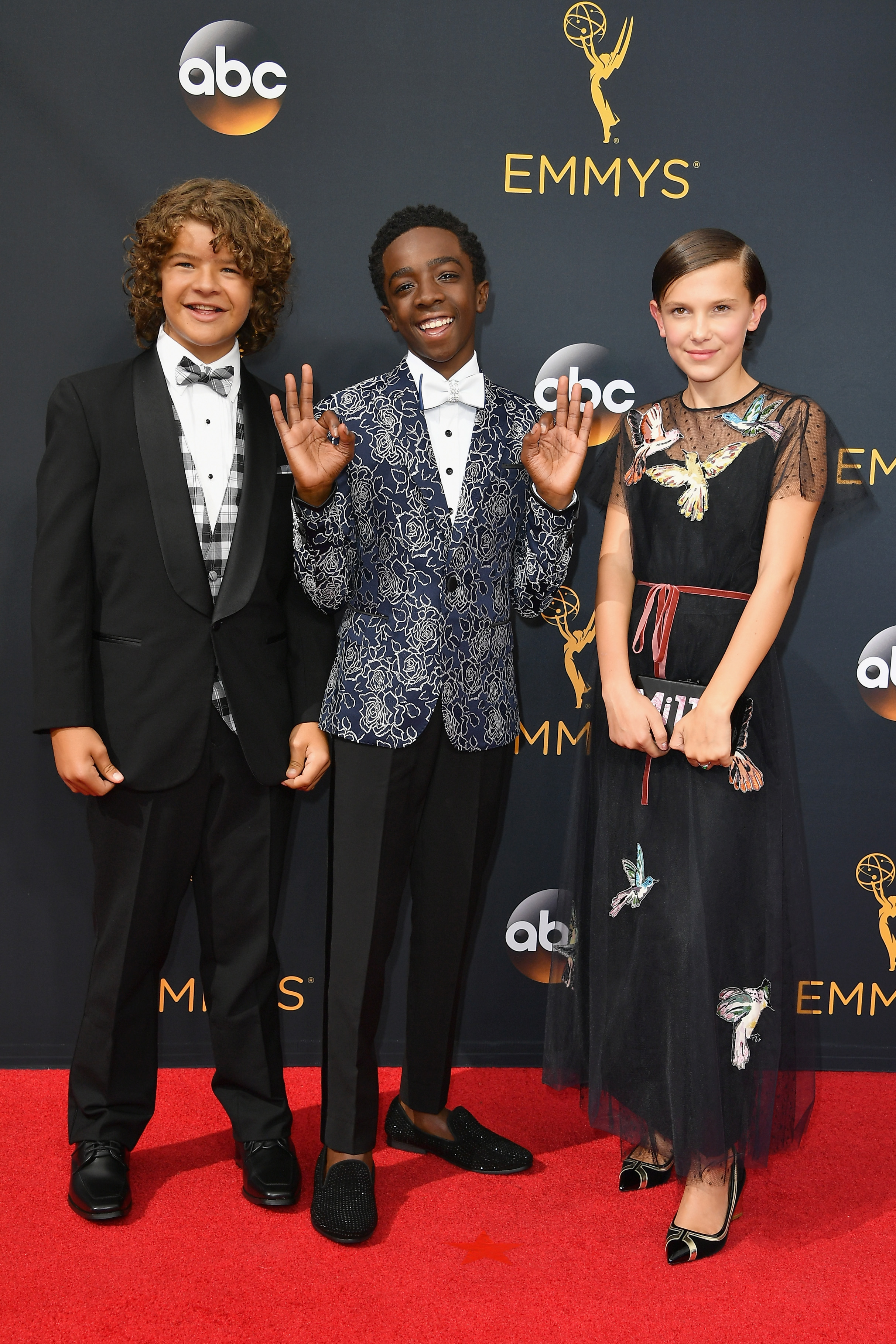 Gaten Matarazzo, Caleb McLaughlin and Millie Bobby Brown arrive at the 68th Annual Primetime Emmy Awards at Microsoft Theater on Sept. 18, 2016 in Los Angeles.