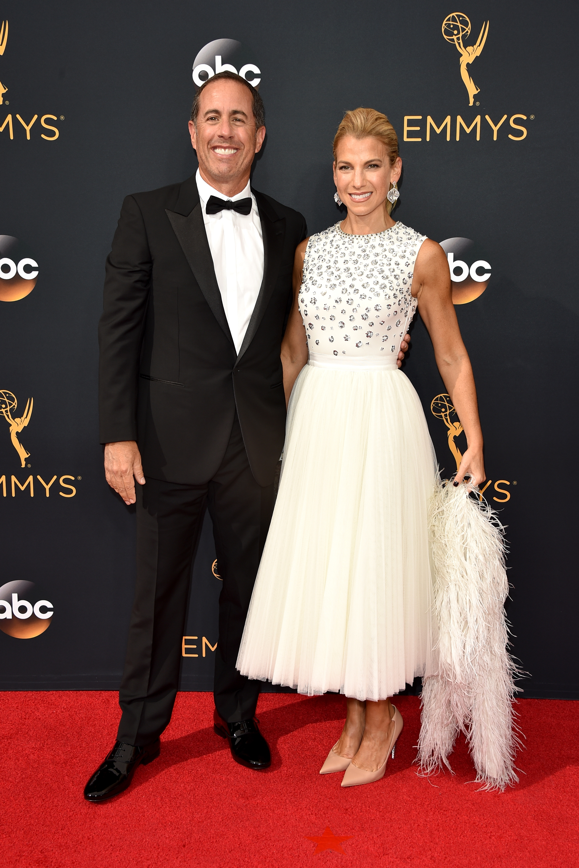 Jerry Seinfeld and Jessica Seinfeld arrive at the 68th Annual Primetime Emmy Awards at Microsoft Theater on Sept. 18, 2016 in Los Angeles.