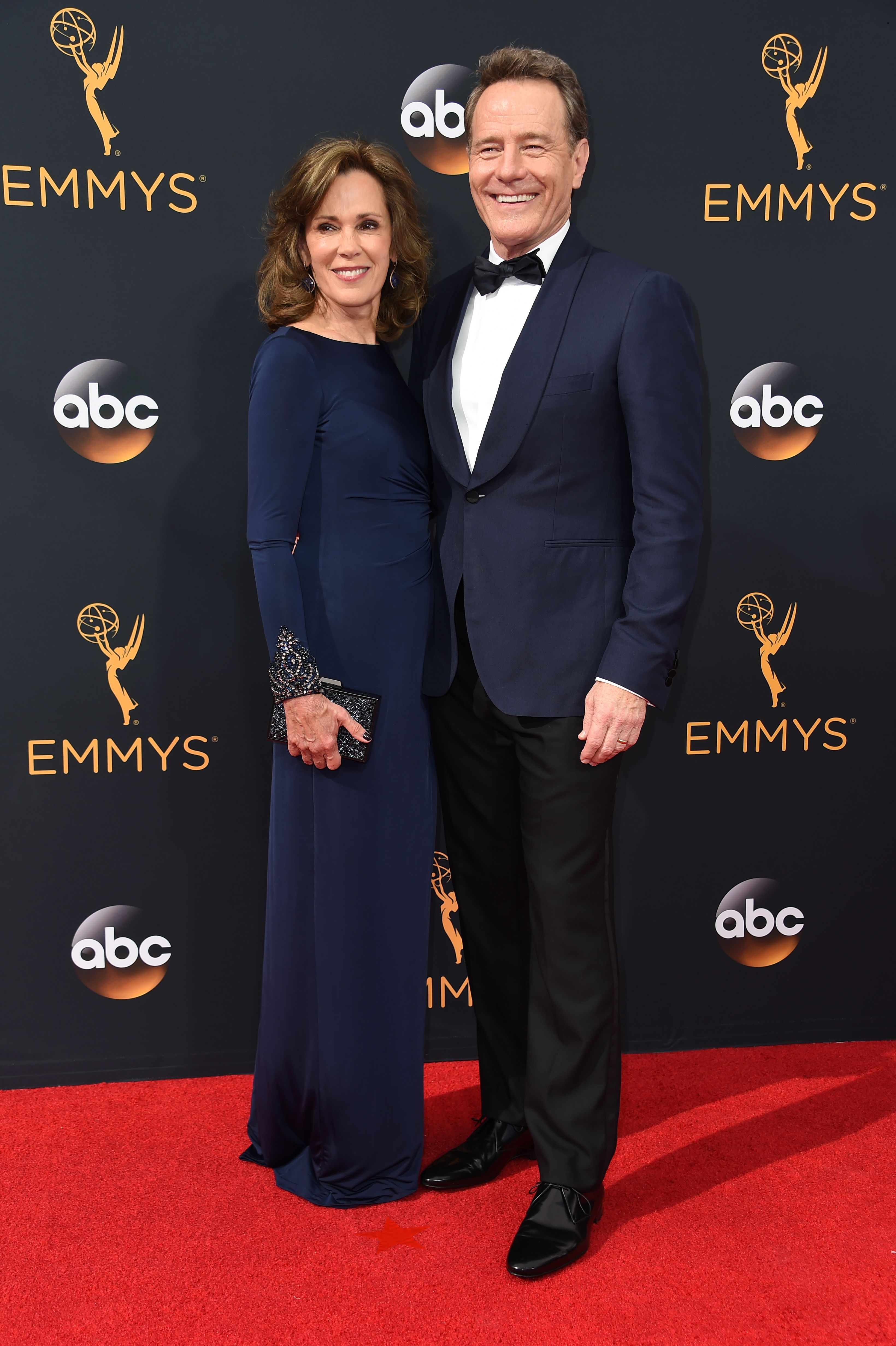Robin Dearden and Bryan Cranston arrive at the 68th Annual Primetime Emmy Awards at Microsoft Theater on Sept. 18, 2016 in Los Angeles.