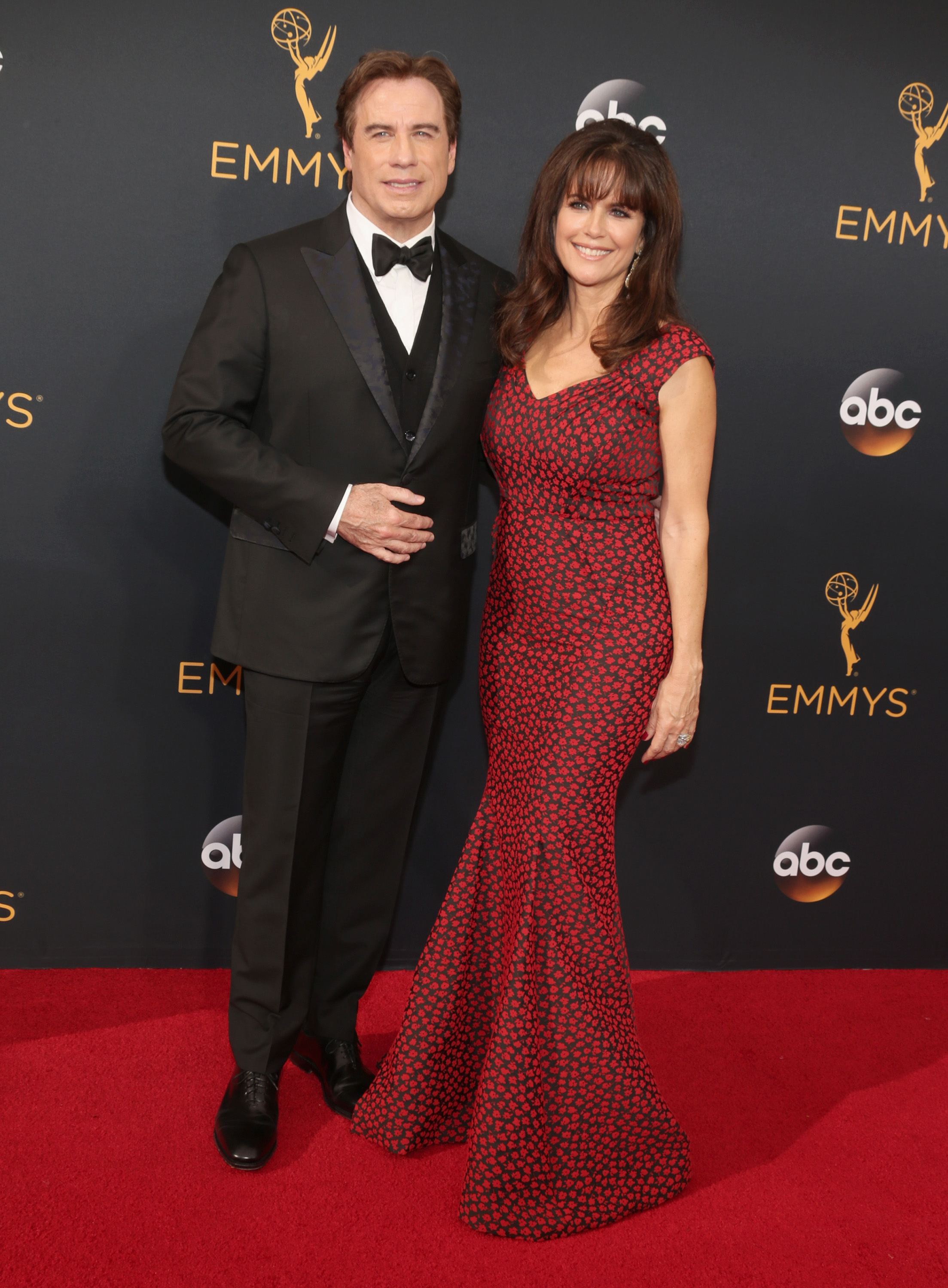 John Travolta and Kelly Preston arrive at the 68th Annual Primetime Emmy Awards at Microsoft Theater on Sept. 18, 2016 in Los Angeles.