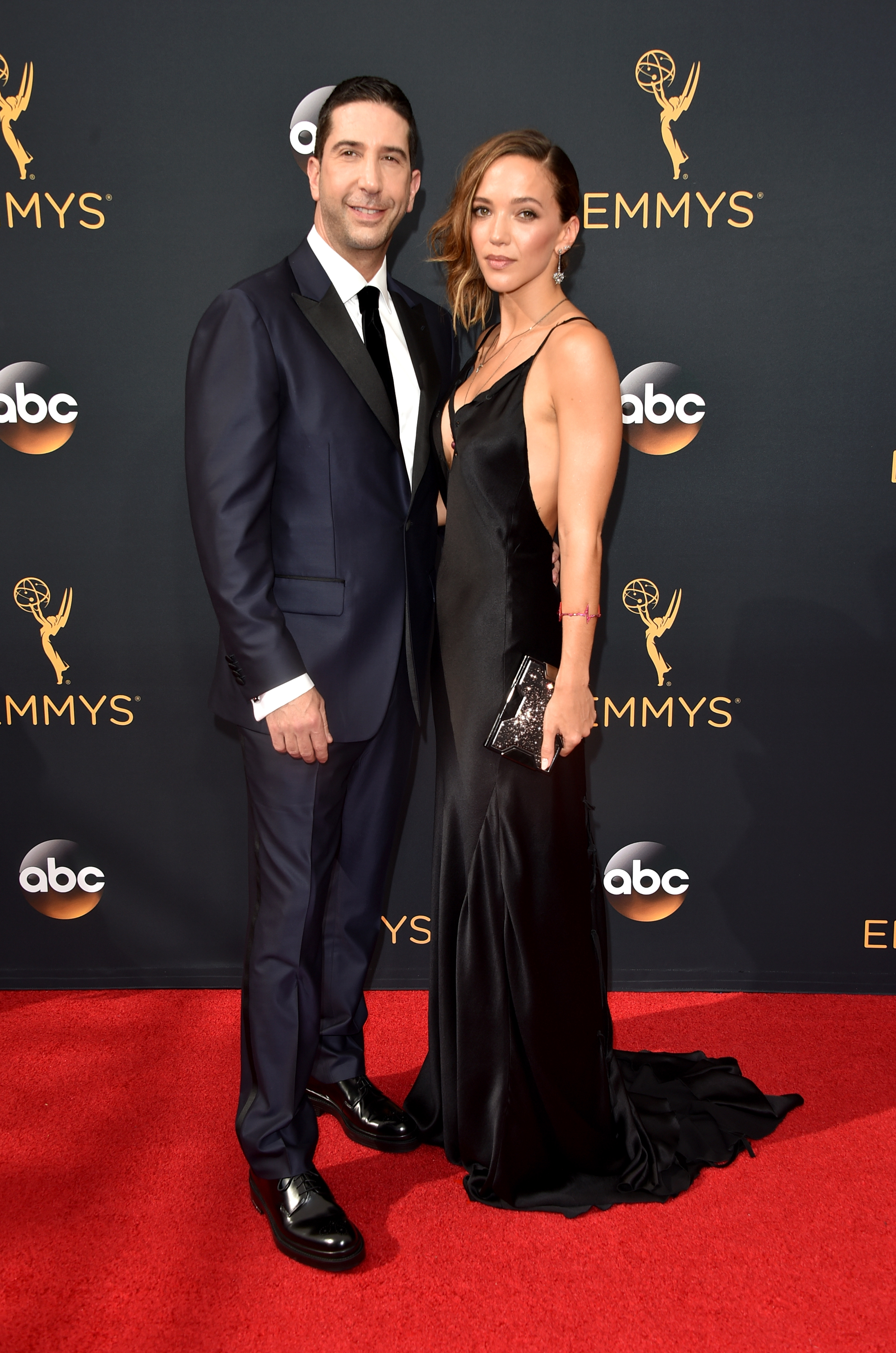David Schwimmer and Zoe Buckman arrive at the 68th Annual Primetime Emmy Awards at Microsoft Theater on Sept. 18, 2016 in Los Angeles.