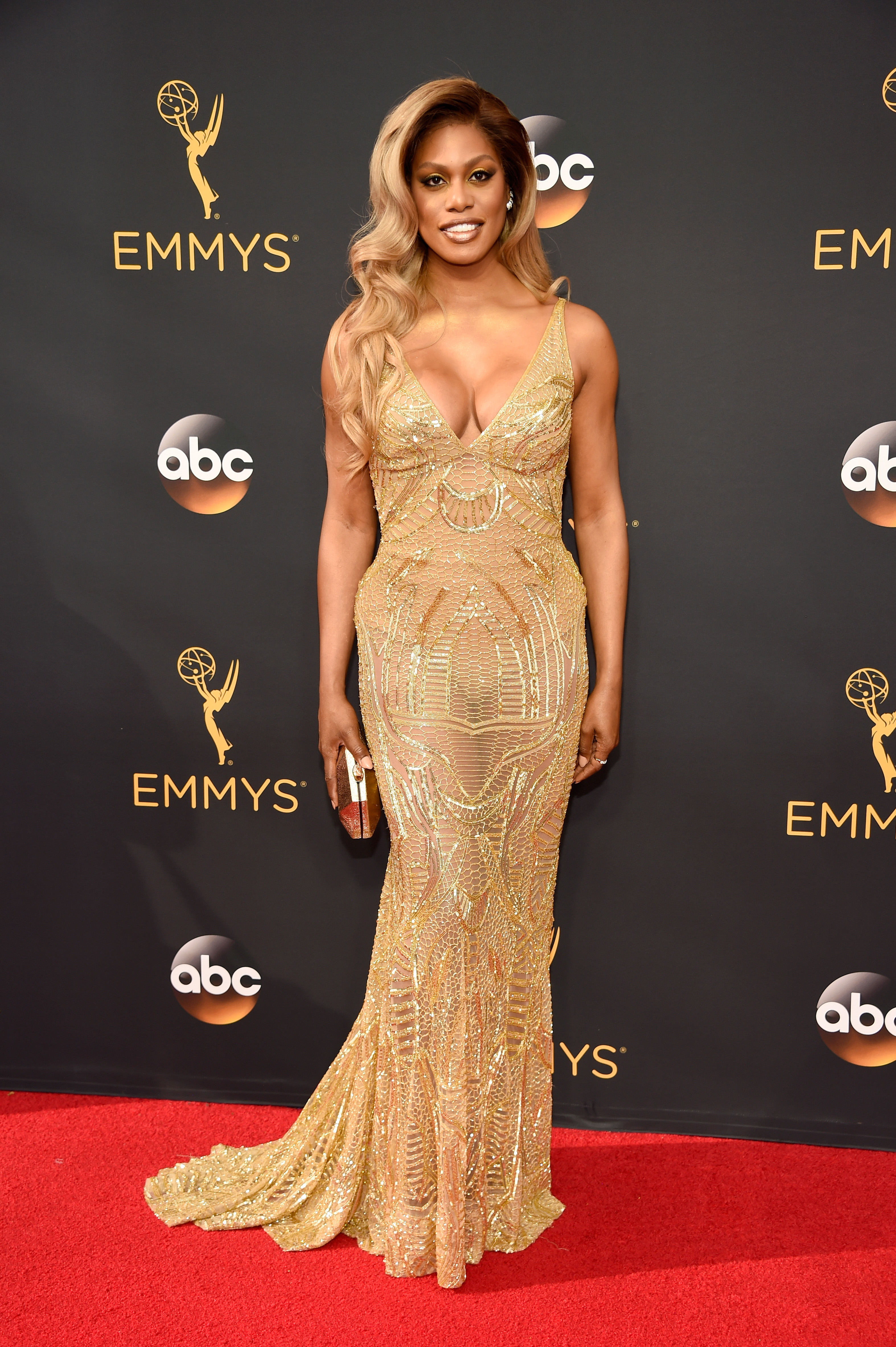 Laverne Cox arrives at the 68th Annual Primetime Emmy Awards at Microsoft Theater on Sept. 18, 2016 in Los Angeles.
