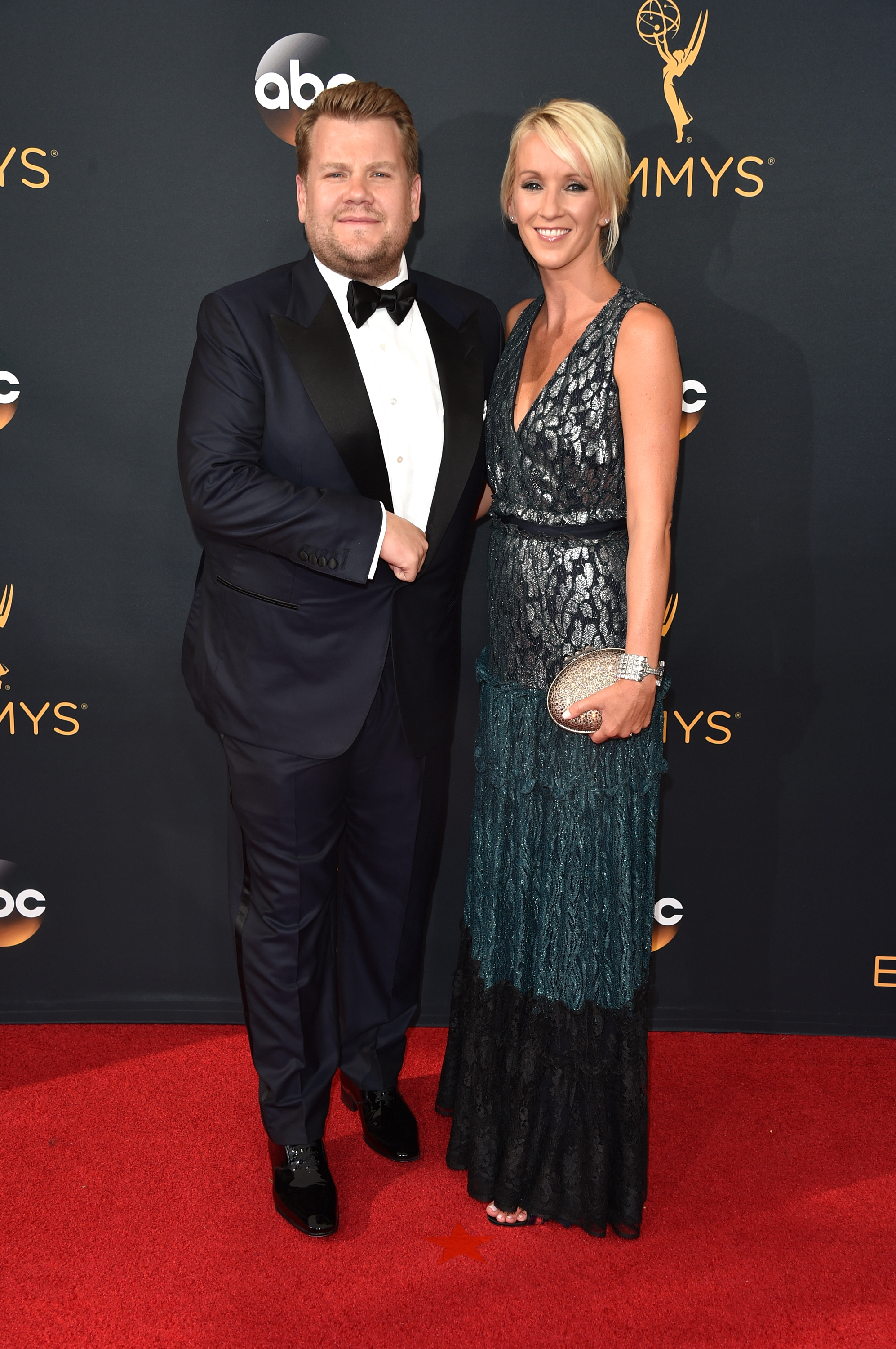 James Corden and Julia Carey arrive at the 68th Annual Primetime Emmy Awards at Microsoft Theater on Sept. 18, 2016 in Los Angeles.