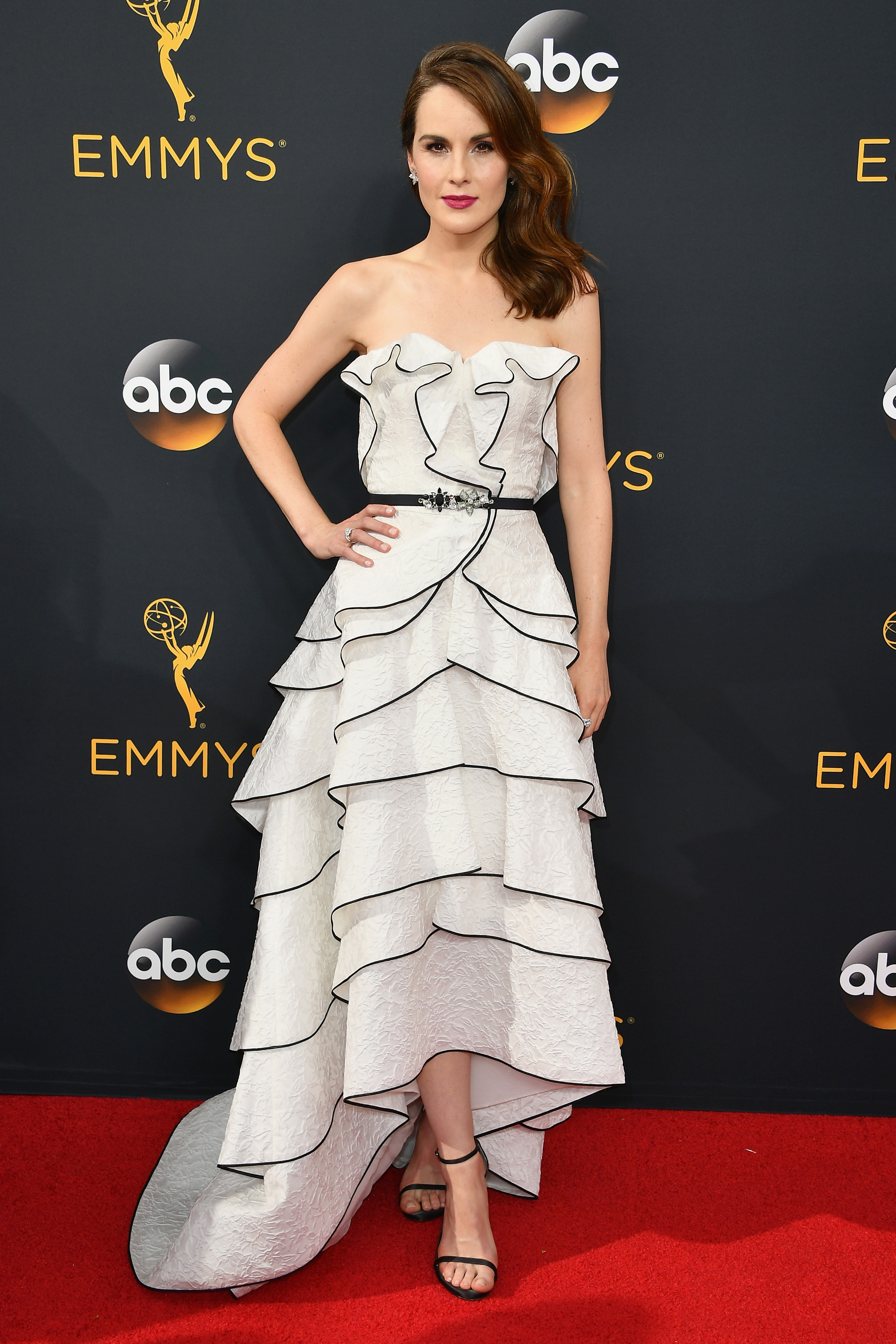 Michelle Dockery arrives at the 68th Annual Primetime Emmy Awards at Microsoft Theater on Sept. 18, 2016 in Los Angeles.