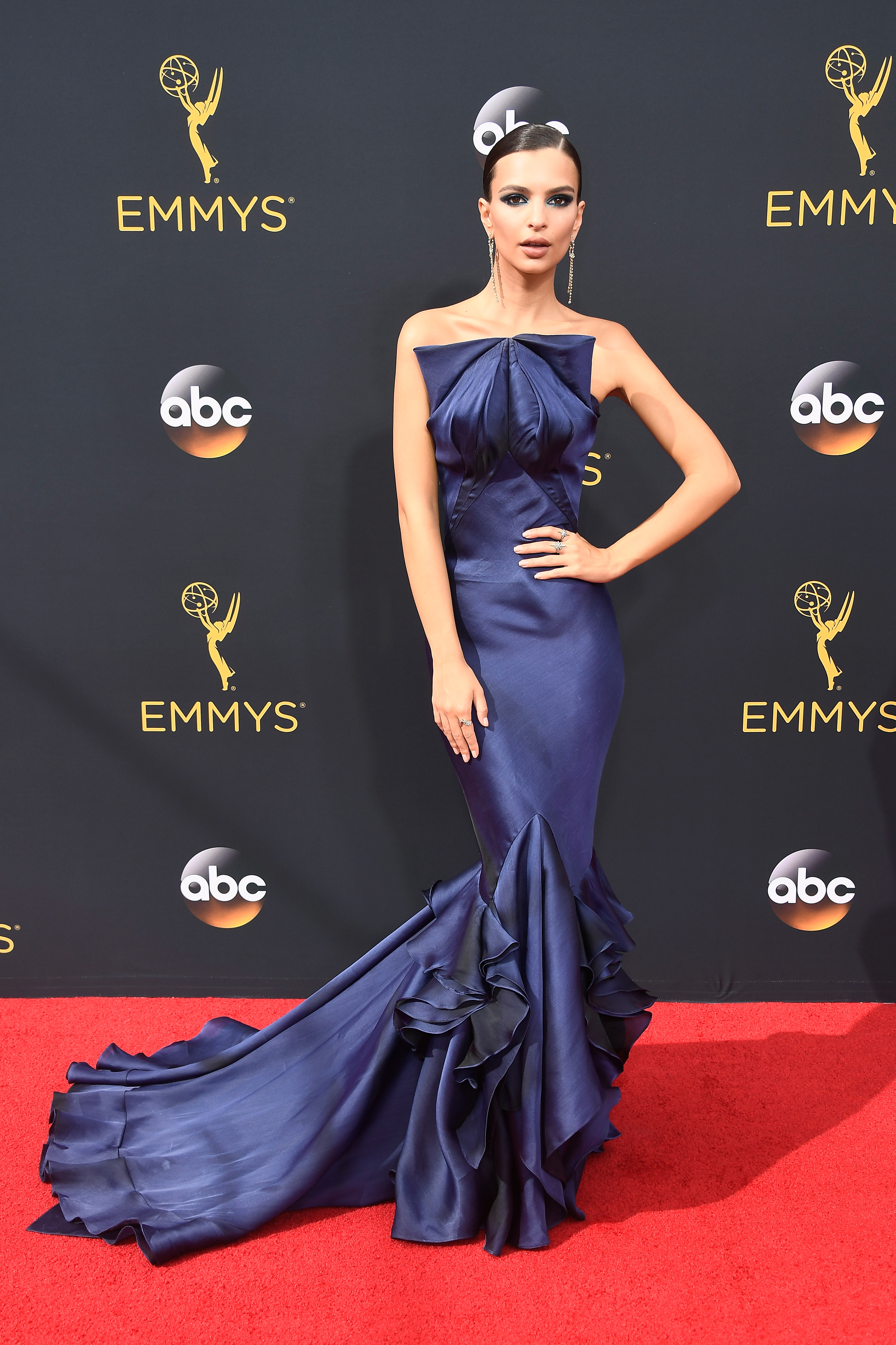 Emily Ratajkowski arrives at the 68th Annual Primetime Emmy Awards at Microsoft Theater on Sept. 18, 2016 in Los Angeles.