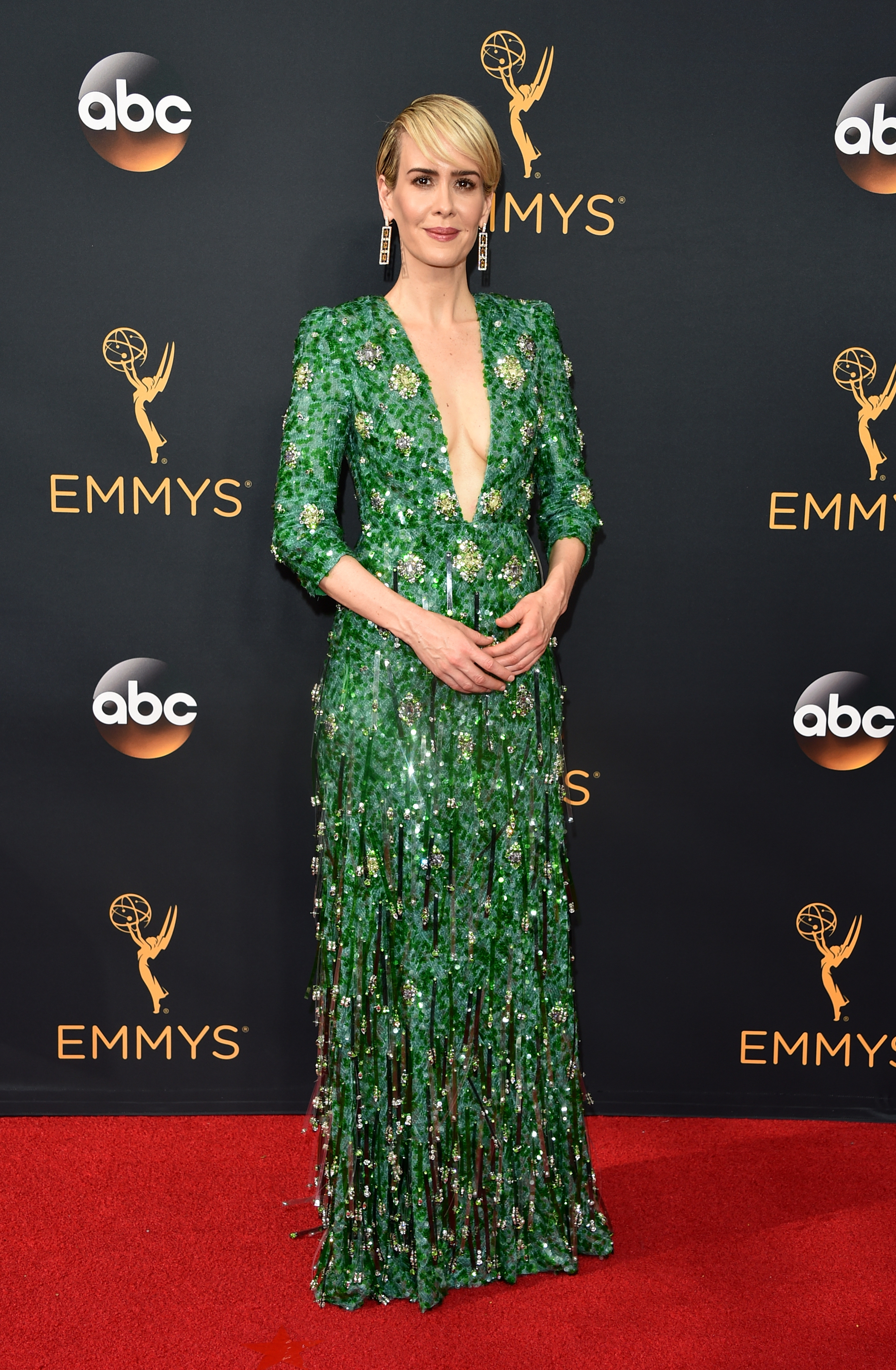 Sarah Paulson arrives at the 68th Annual Primetime Emmy Awards at Microsoft Theater on Sept. 18, 2016 in Los Angeles.