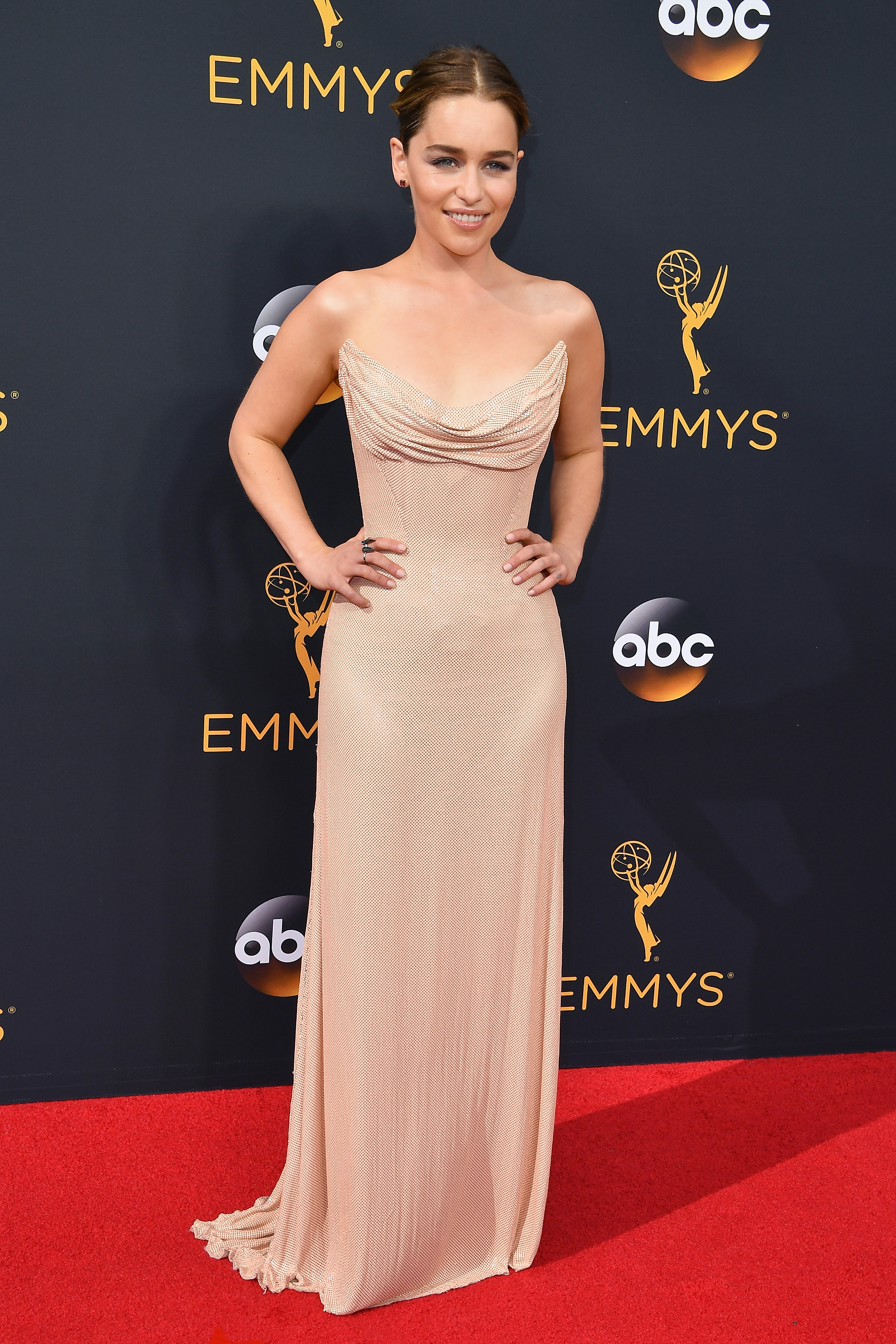 Emilia Clarke arrives at the 68th Annual Primetime Emmy Awards at Microsoft Theater on Sept. 18, 2016 in Los Angeles.