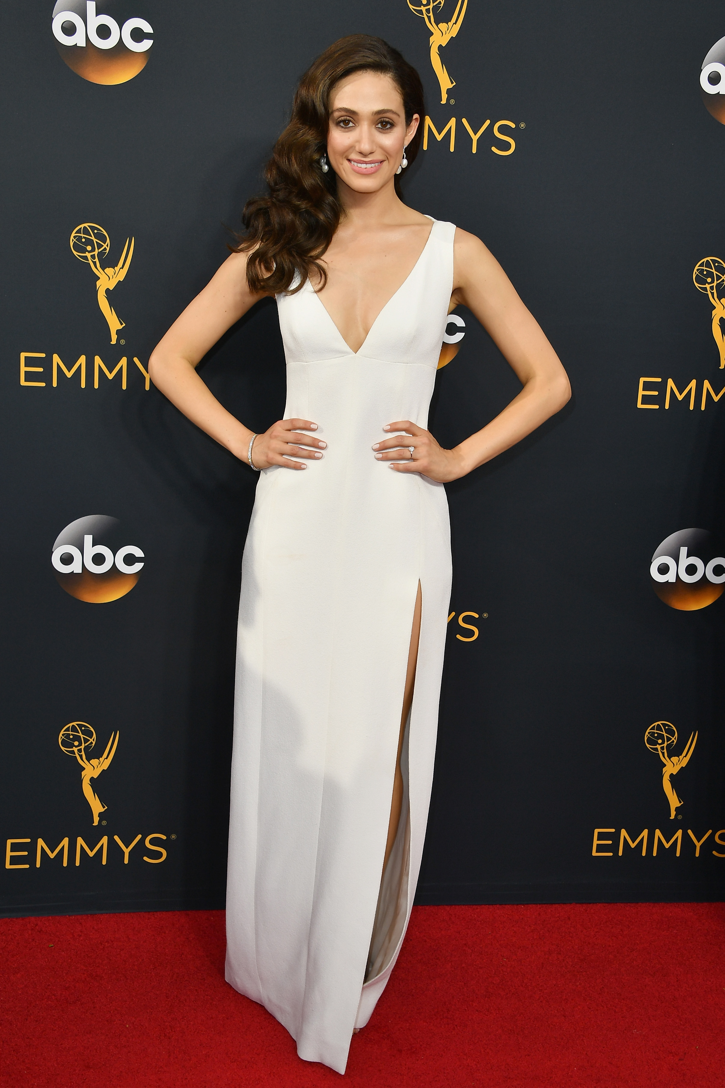 Emmy Rossum arrives at the 68th Annual Primetime Emmy Awards at Microsoft Theater on Sept. 18, 2016 in Los Angeles.