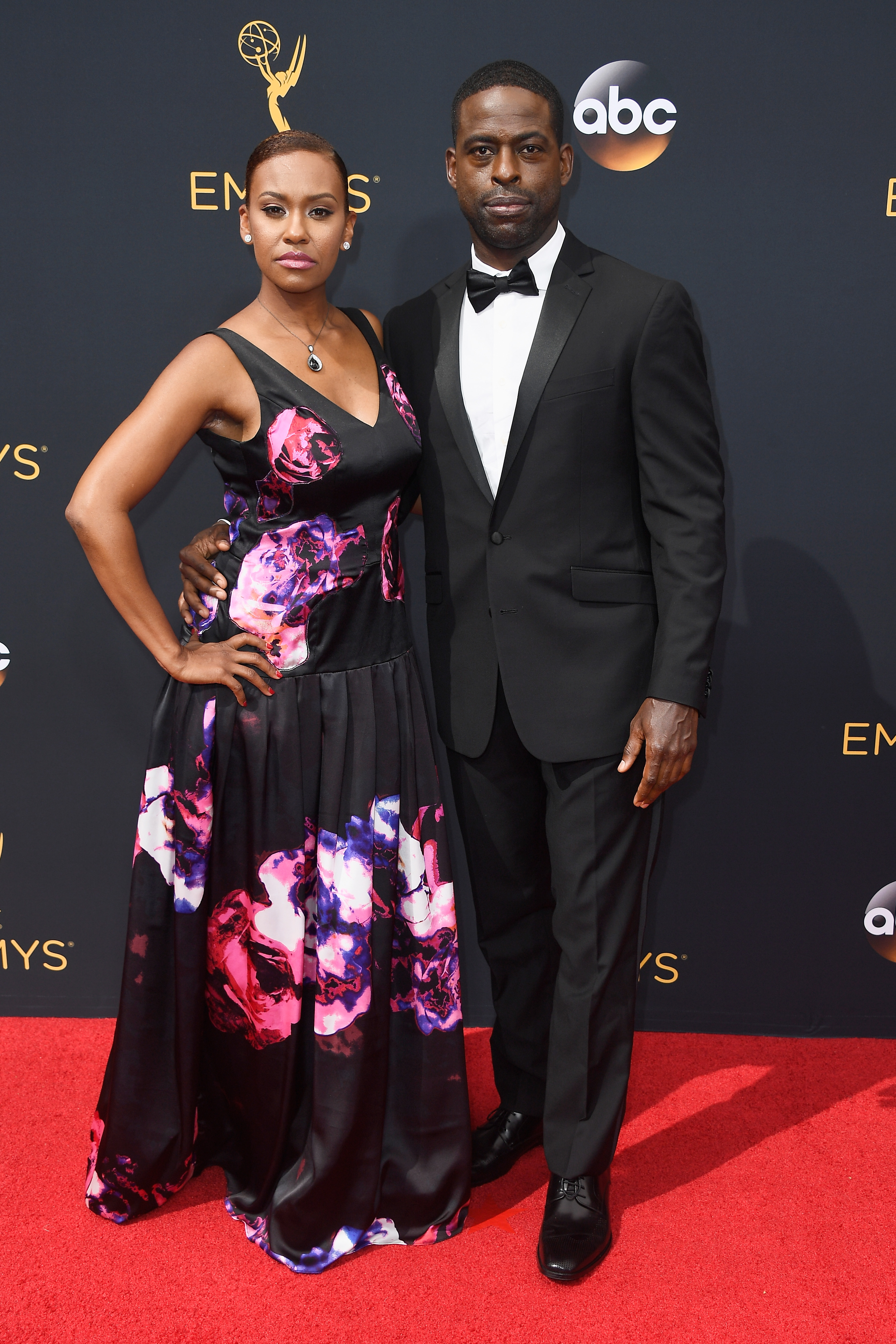 Ryan Michelle Bathe and Sterling K. Brown arrive at the 68th Annual Primetime Emmy Awards at Microsoft Theater on Sept. 18, 2016 in Los Angeles.
