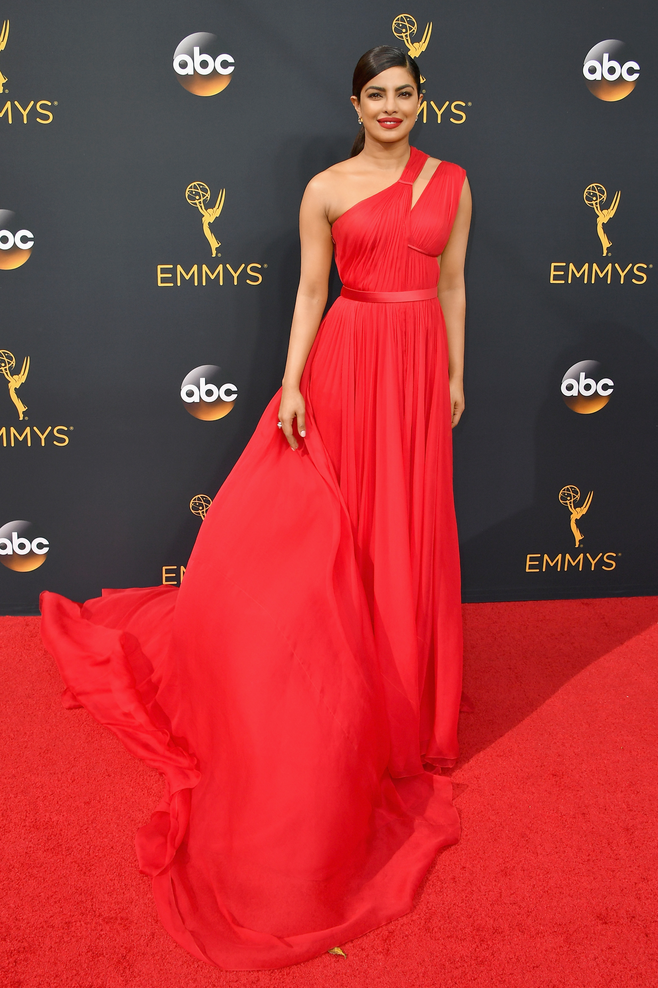 Priyanka Chopra arrives at the 68th Annual Primetime Emmy Awards at Microsoft Theater on Sept. 18, 2016 in Los Angeles.