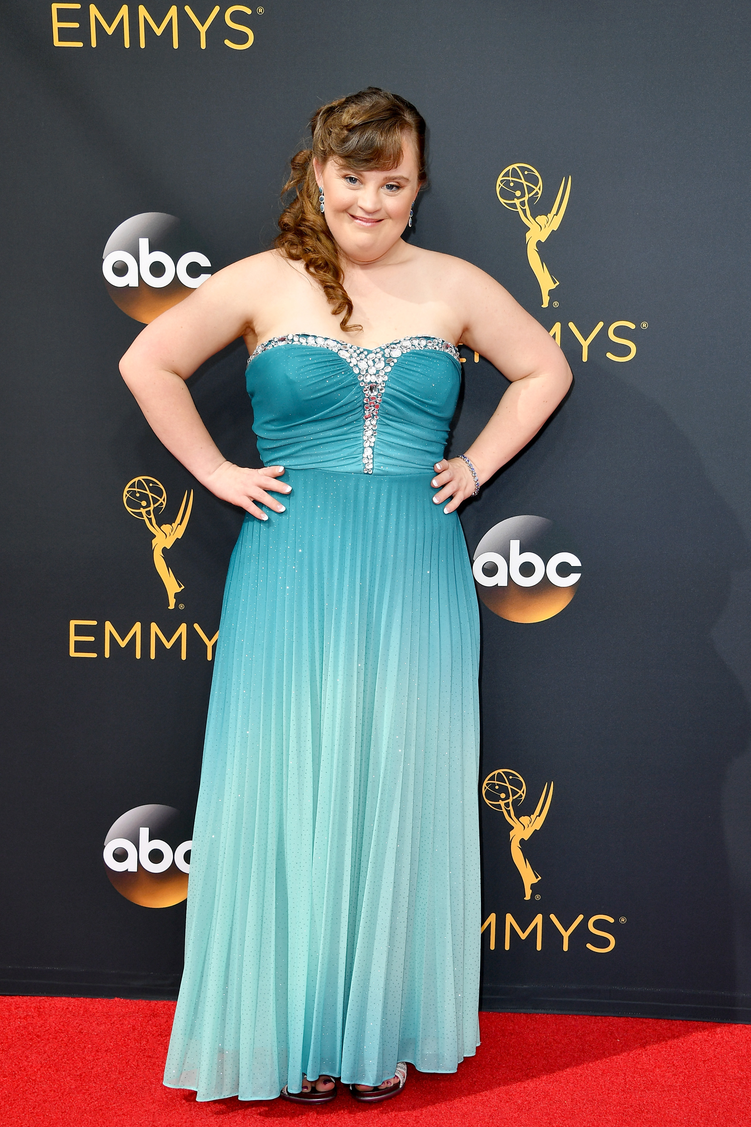 Jamie Brewer arrives at the 68th Annual Primetime Emmy Awards at Microsoft Theater on Sept. 18, 2016 in Los Angeles.