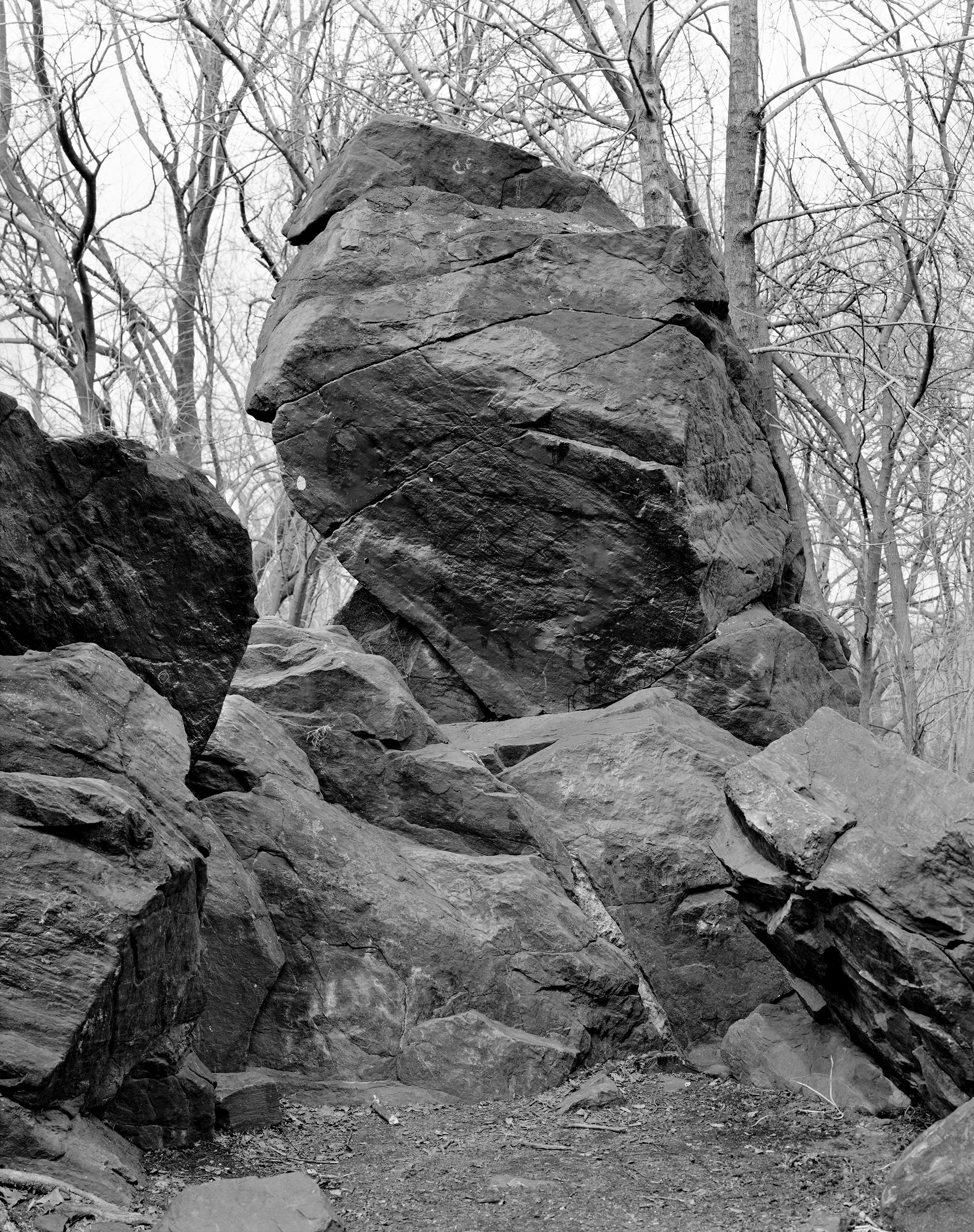 Rocks and Clouds, Yancey Richardson Gallery, N.Y., Sept. 8 - Oct. 22                                                              (Caption: Indian Prayer Rock, Pelham Bay Park, Bronx, 2014)