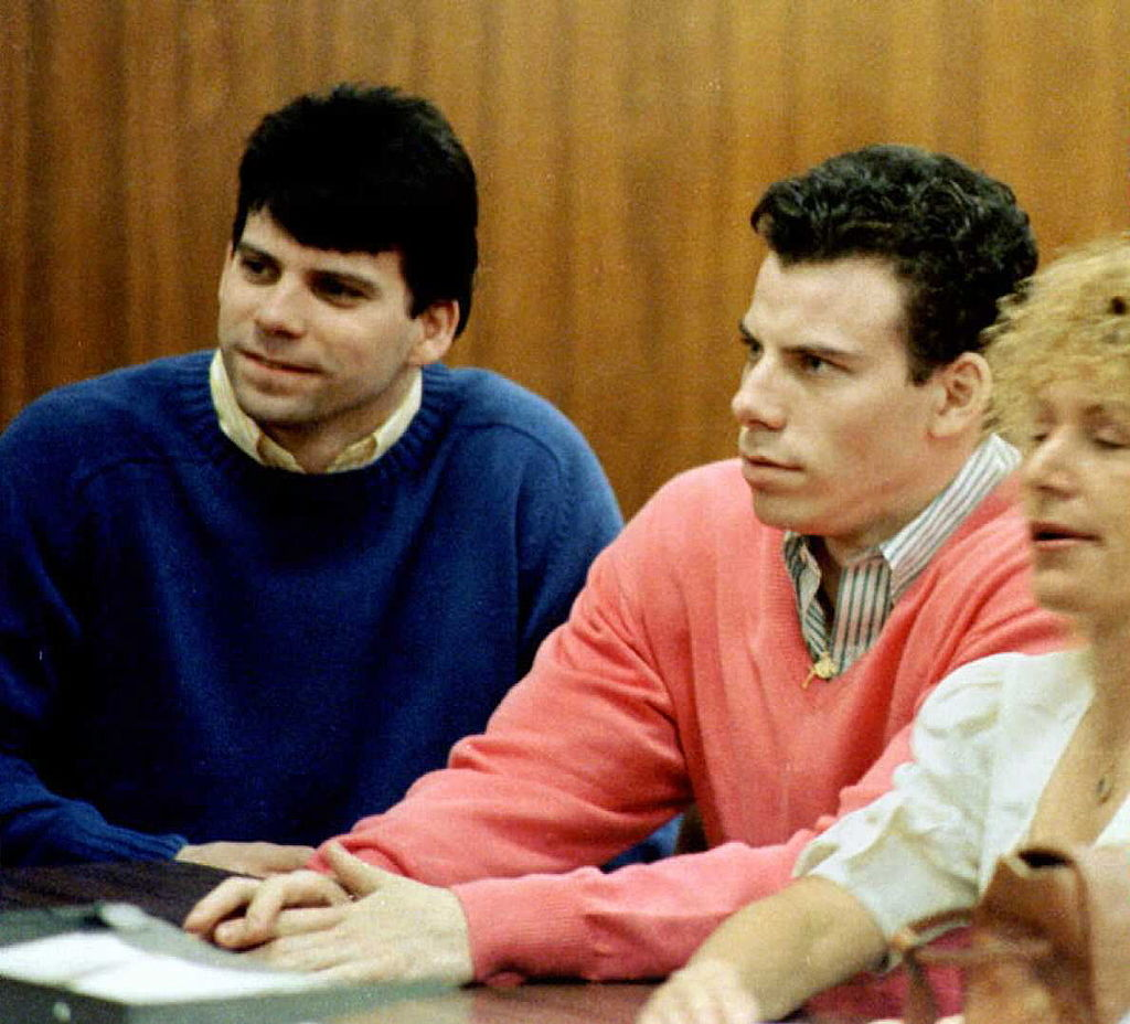 This 1992 file photo shows double murder defendants Erik (R) and Lyle Menendez (L) during a court appearance in Los Angeles, Ca.