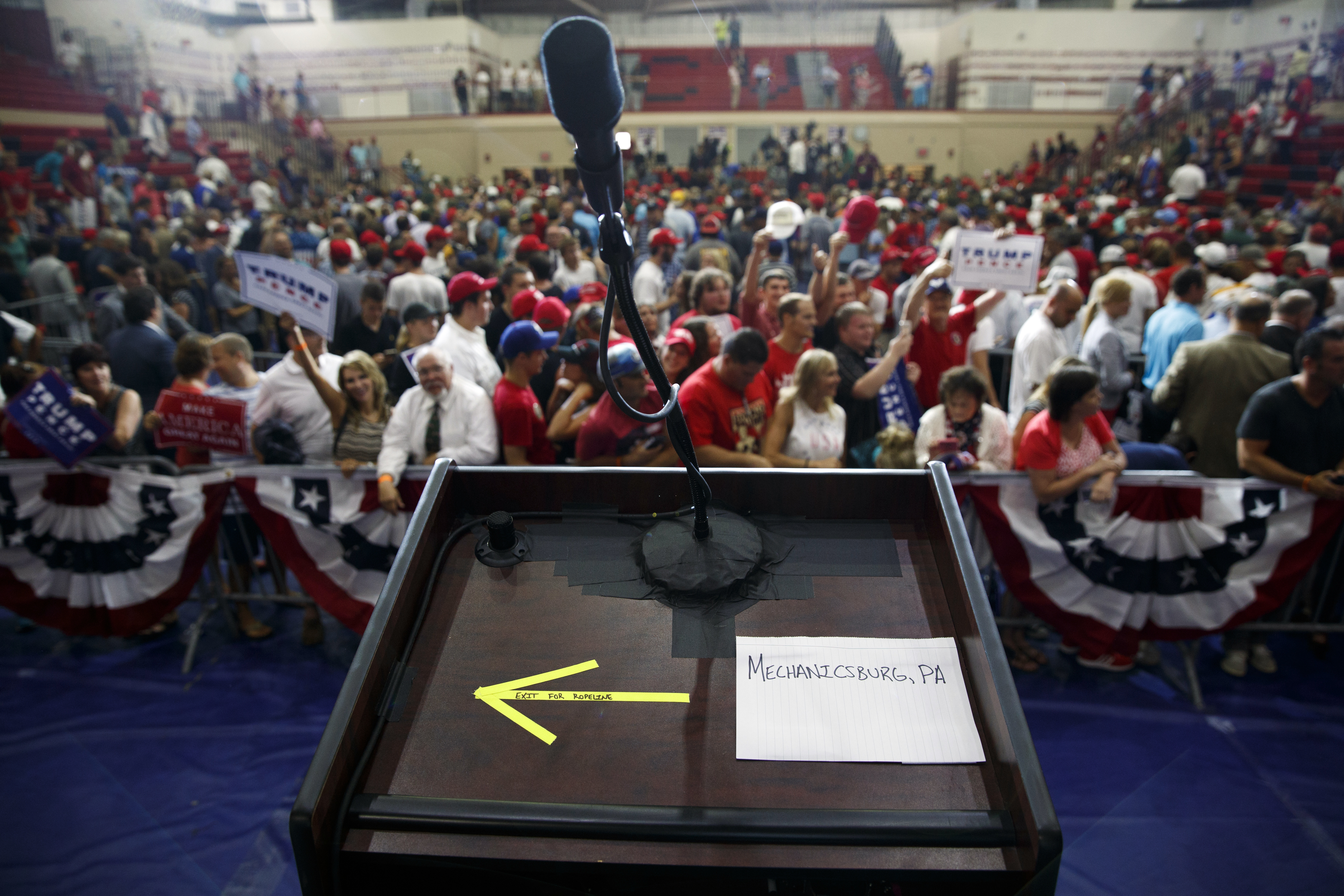 Notes sit on the lectern after Republican presidential candidate Donald Trump spoke during a campaign rally at Cumberland Valley High School, Aug. 1, 2016, in Mechanicsburg, Pa.
