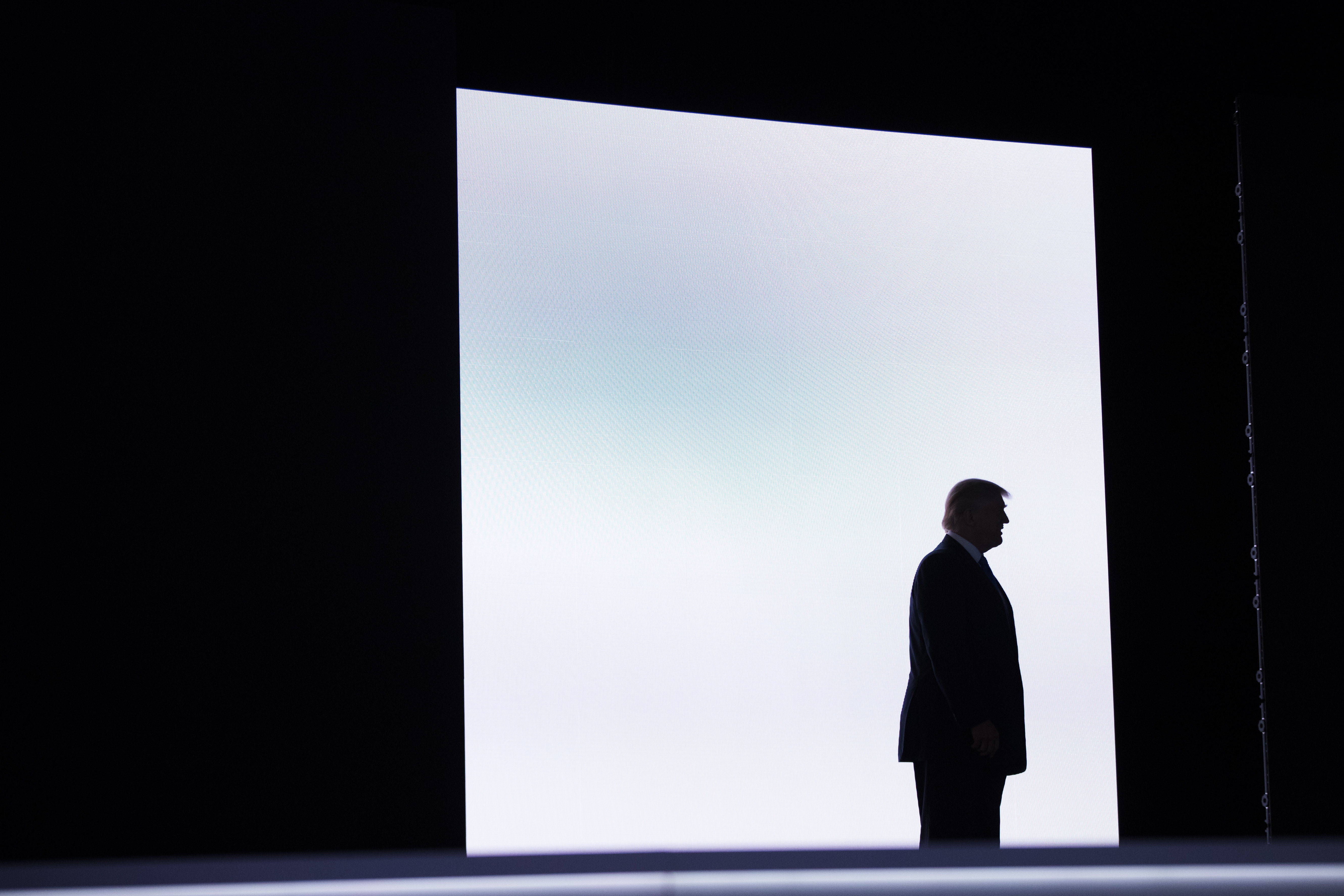 Republican presidential candidate Donald Trump arrives to introduce his wife Melania during the Republican National Convention, Monday, July 18, 2016, in Cleveland.