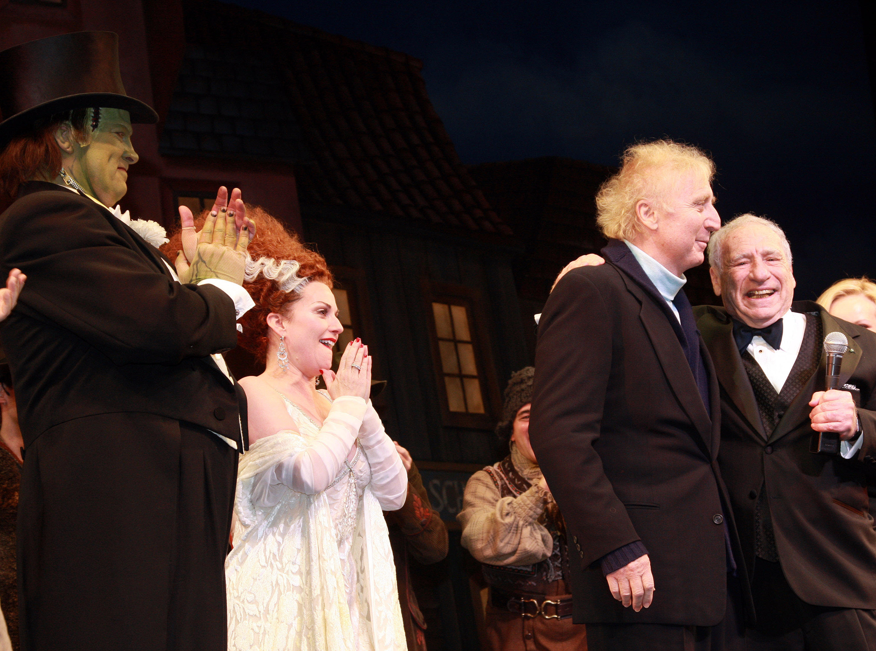 Gene Wilder and Mel Brooks, far right, at the curtain call for Mel Brooks' musical, Young Frankenstein, on Nov. 8, 2007 in New York City.