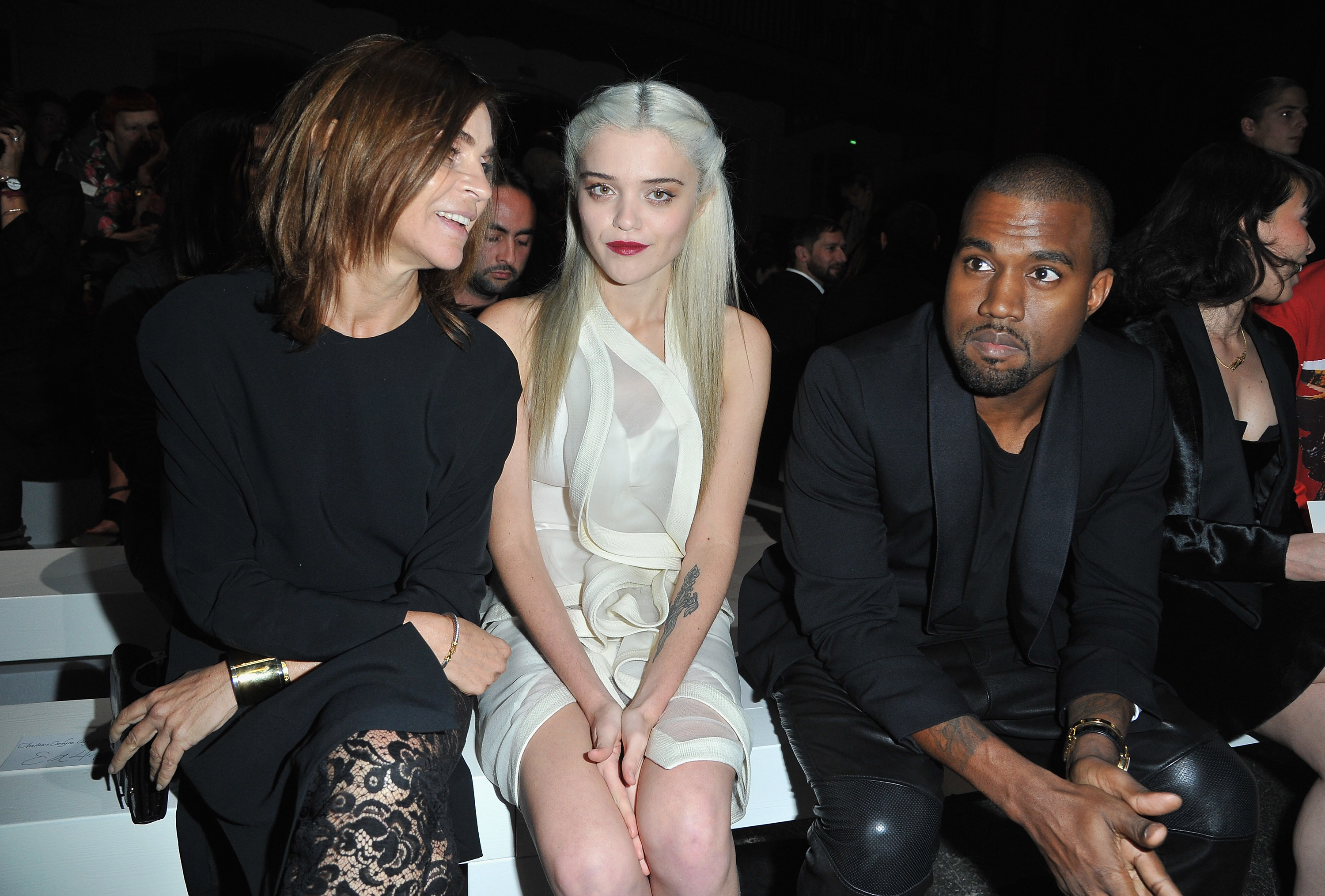 Carine Roitfeld, Sky Ferreira and Kanye West at the Givenchy Spring/Summer 2013 fashion show.