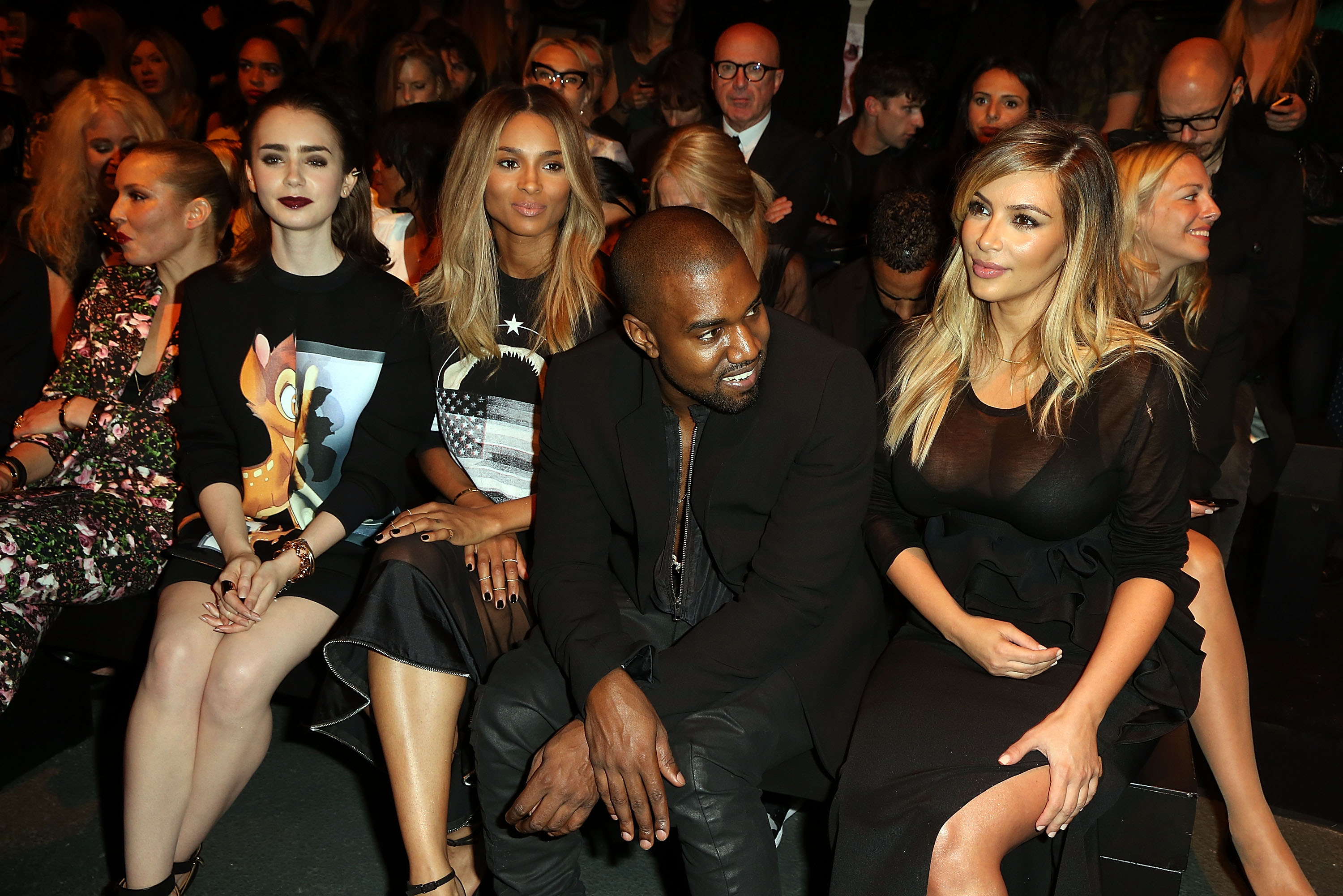 Lily Collins, Kim Kardanshian, Kanye West and Ciara attend the Givenchy Spring/Summer 2014 fashion show.