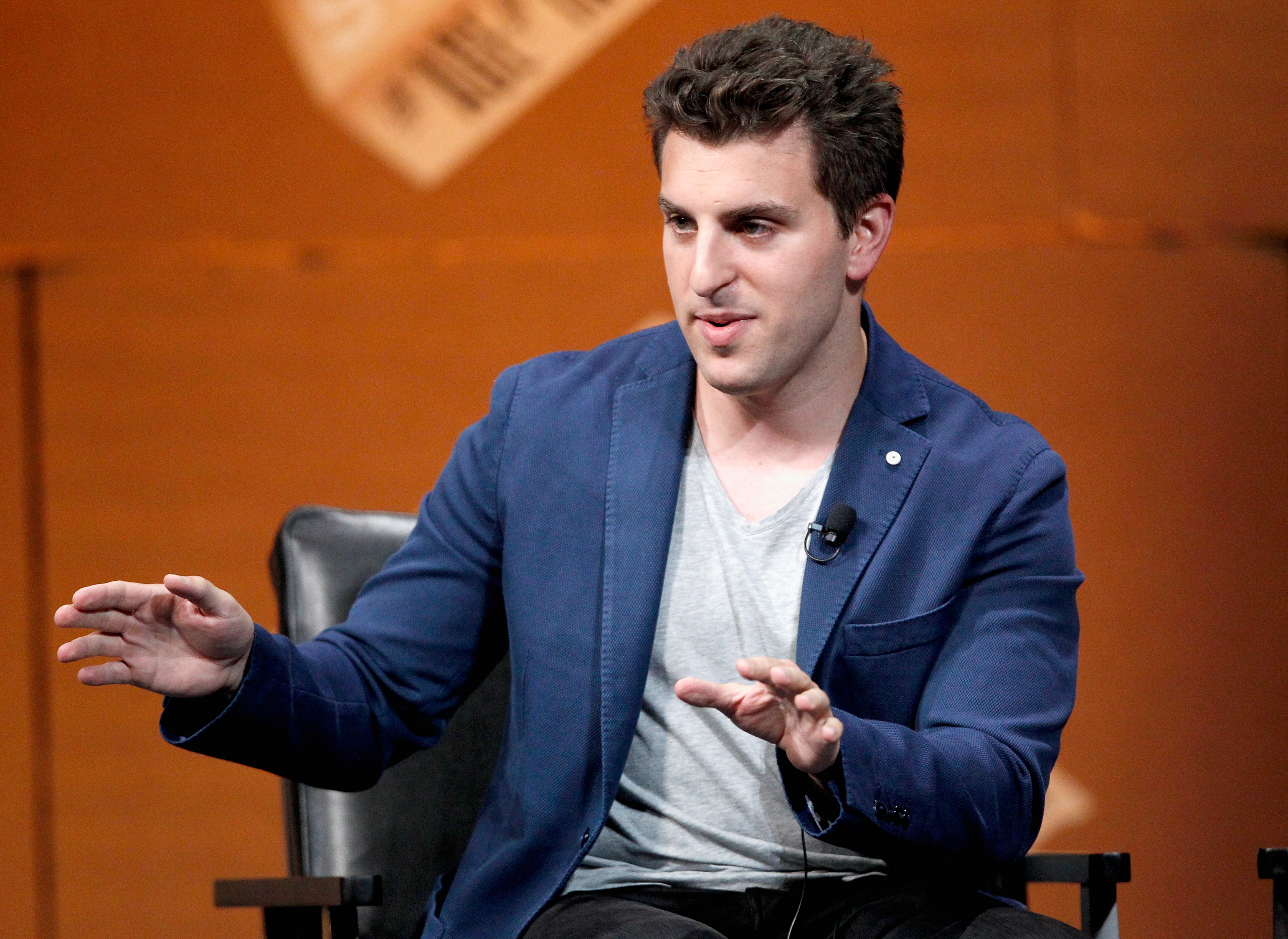 Airbnb Co-Founder and CEO Brian Chesky speaks onstage during  Generation Next  at the Vanity Fair New Establishment Summit at Yerba Buena Center for the Arts on October 9, 2014 in San Francisco, California.