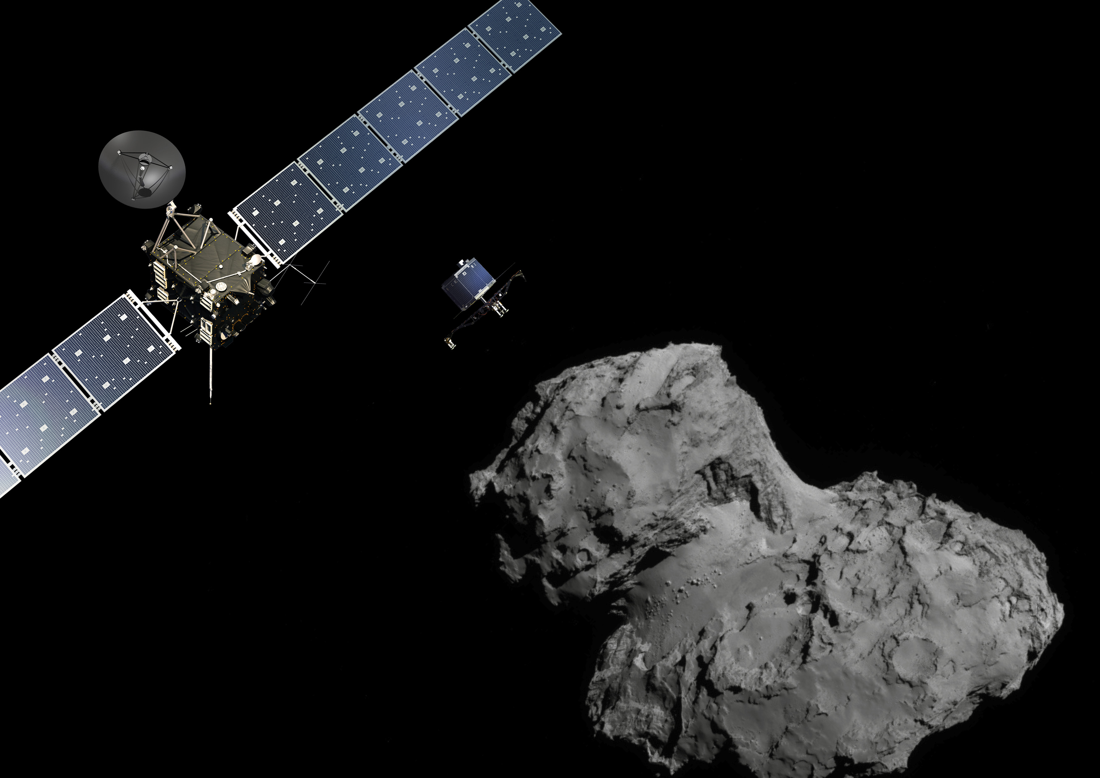 The Rosetta probe (L) and Philae lander are pictured above the 67P/Churyumov-Gerasimenko comet, November 10, 2014