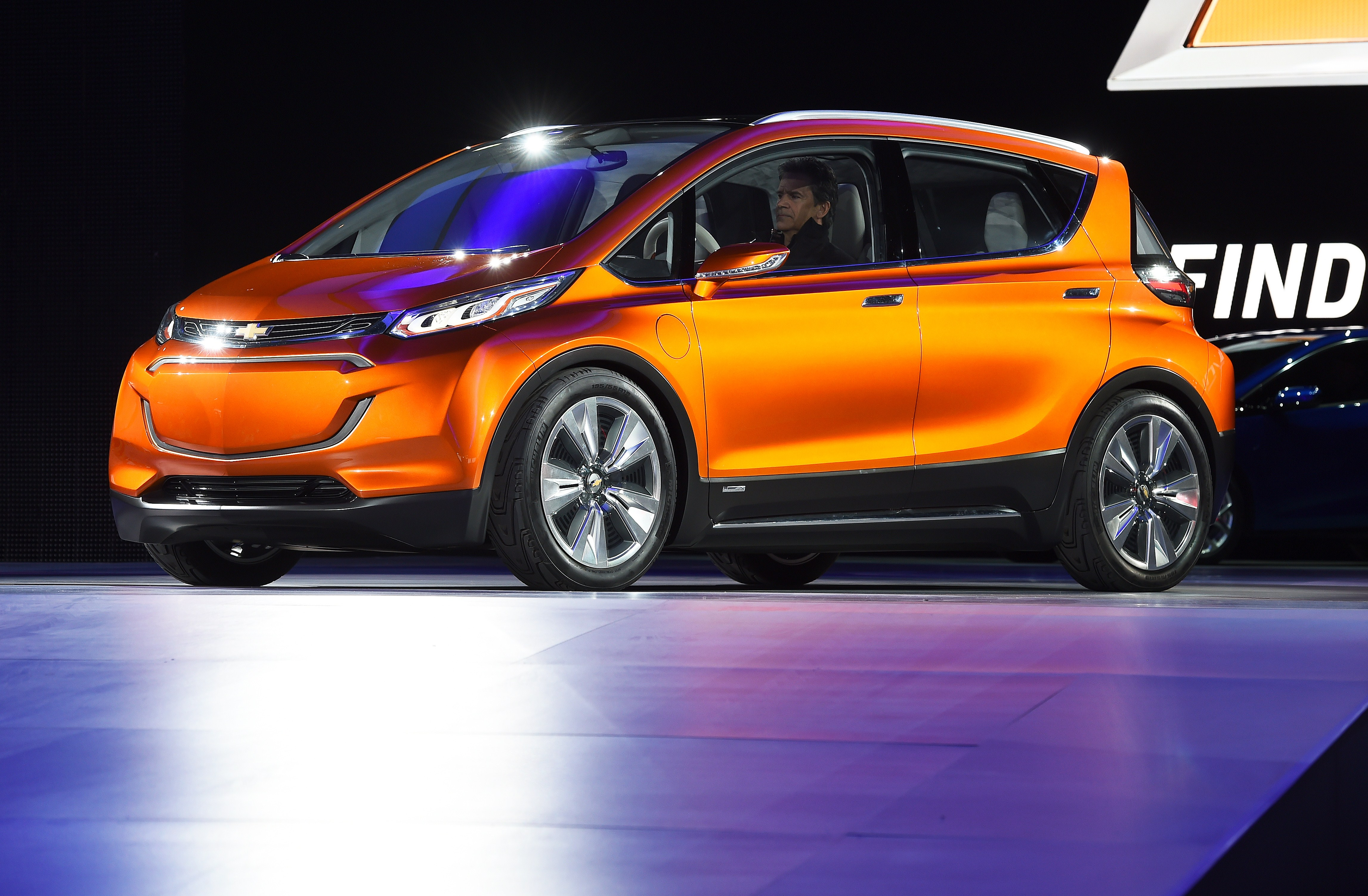 Chevrolet reveals their electric concept car Bolt EV to the media at The North American International Auto Show in Detroit, Michigan, on January 12, 2015.