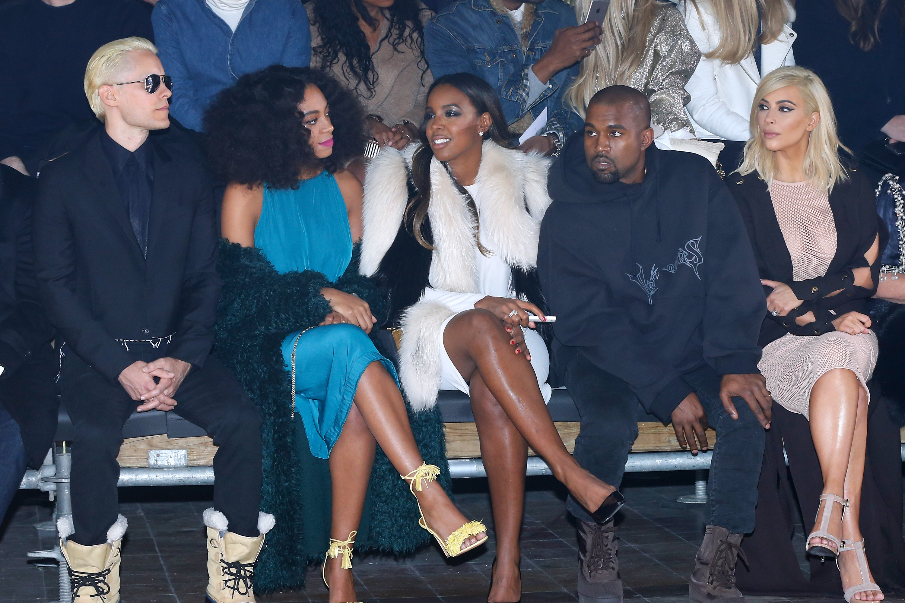 Jared Leto, Solange Knowles, Kelly Rowland, Kanye West and Kim Kardashian attend the Lanvin Fall/Winter 2015 fashion show.