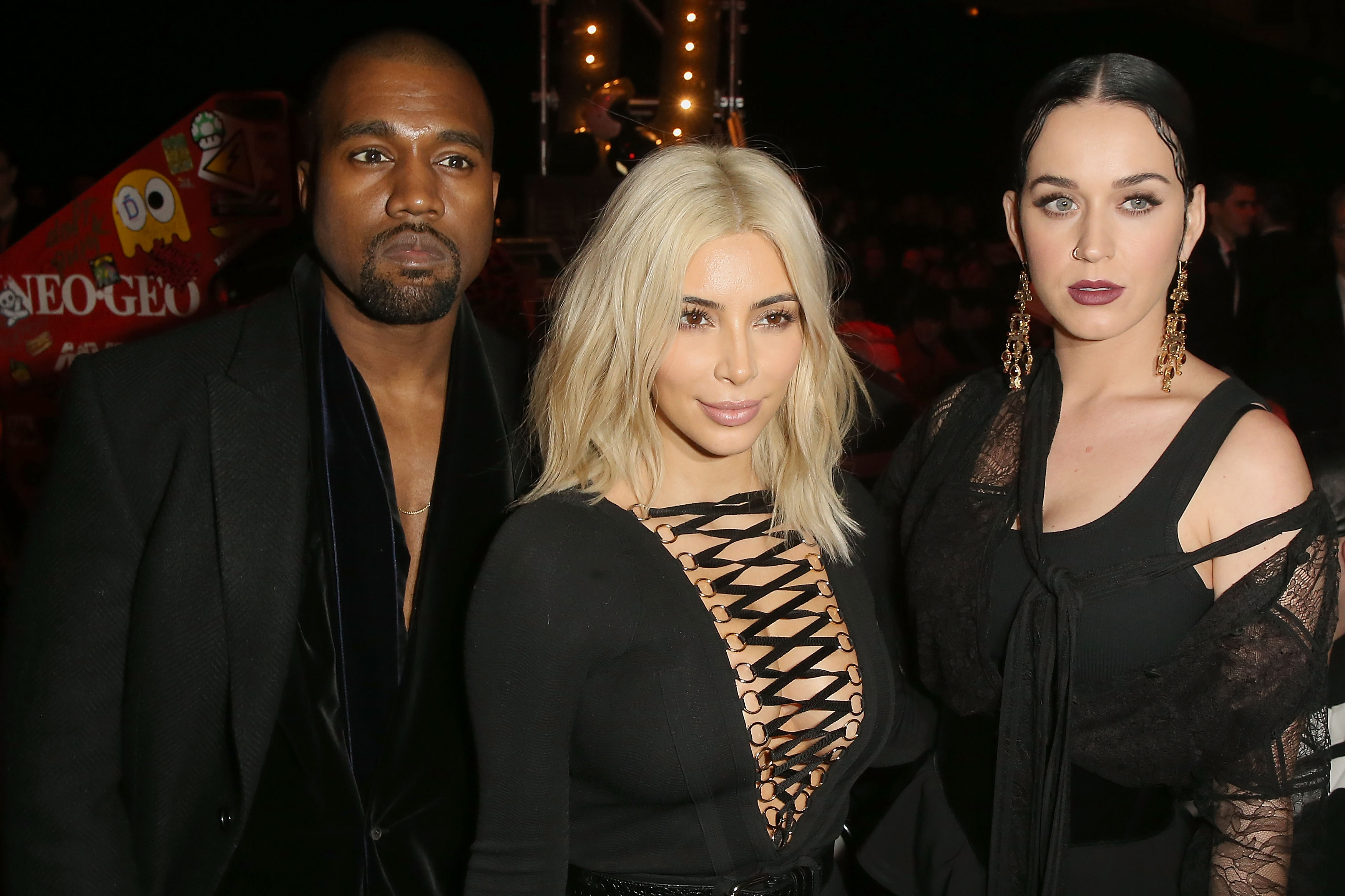 Kanye West, Kim Kardashian and Katy Perry at the Givenchy Fall/Winter 2015 fashion show.