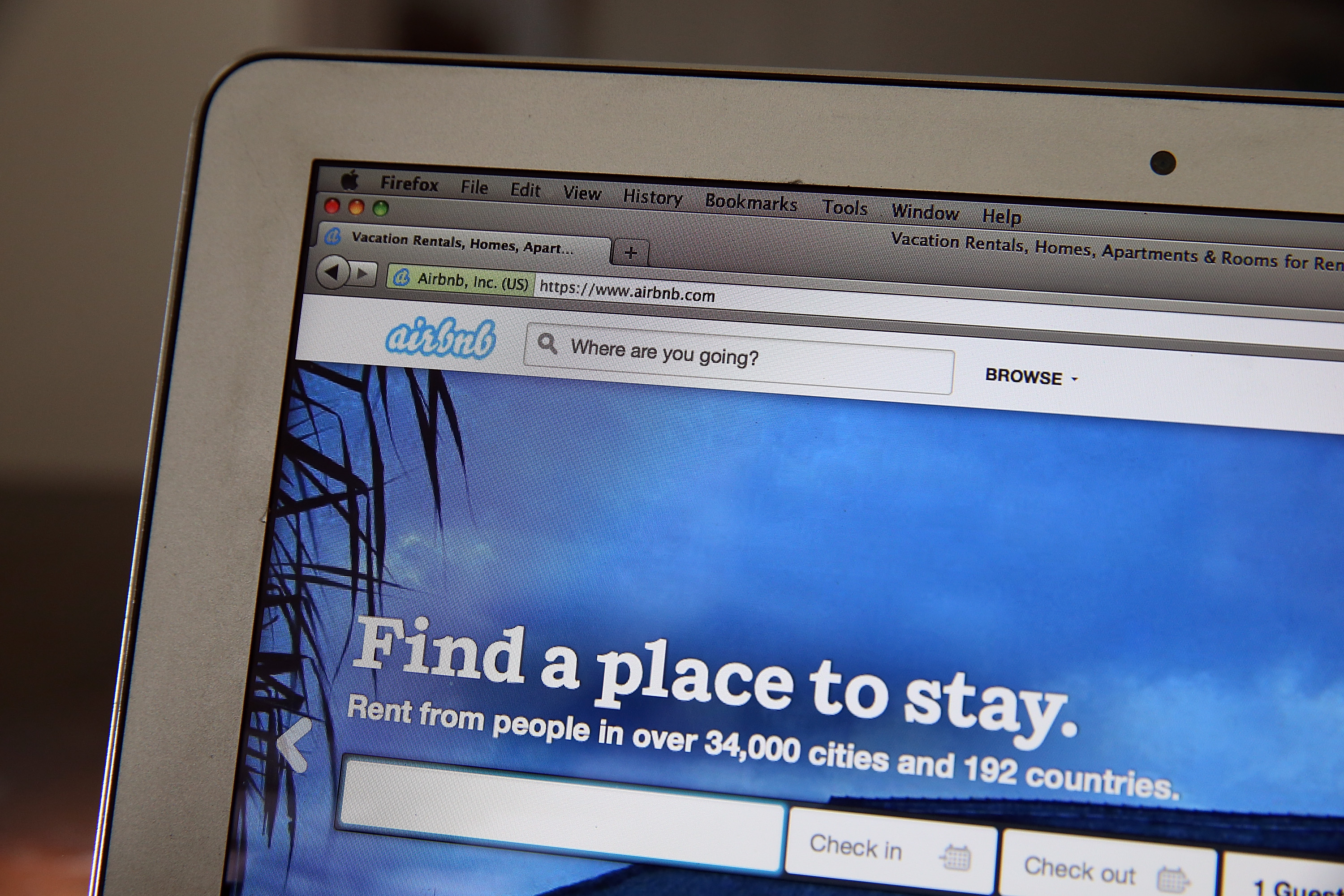 The Airbnb website is displayed on a laptop in San Anselmo, Calif., on April 21, 2014.