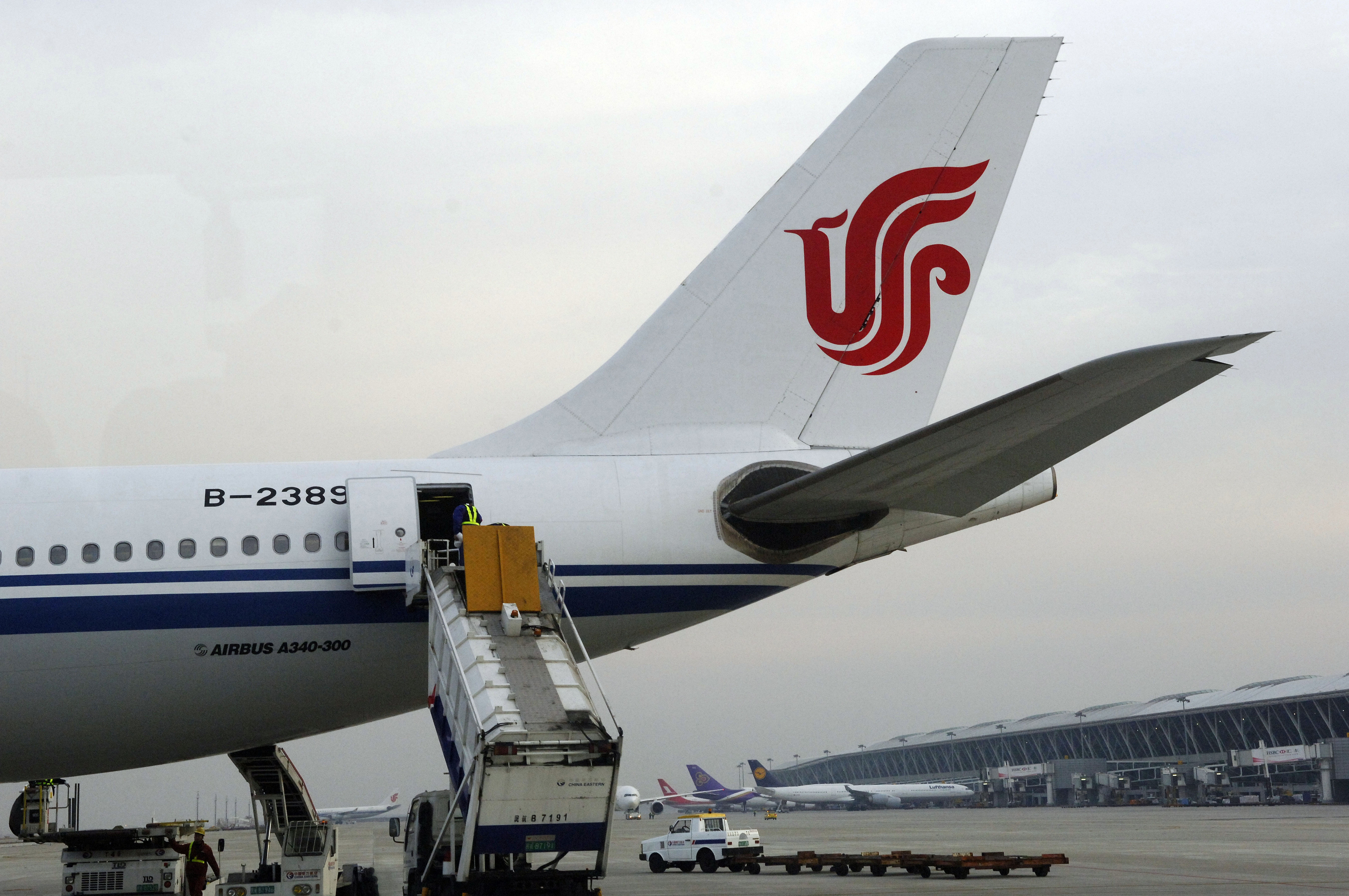 The tail of an Airbus plane of Air China in Beijing International Airport