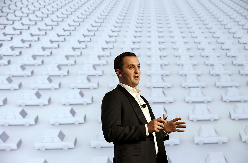 John Zimmer, co-founder and president of Lyft Inc., speaks during the Connected Car Expo ahead of the Los Angeles Auto Show in Los Angeles, California, U.S., on Tuesday, Nov. 17, 2015.