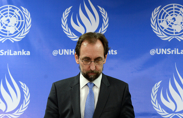 United Nations High Commissioner for Human Rights Zeid Ra'ad Al Hussein leaves after addressing a press conference in Colombo on February 9, 2016.