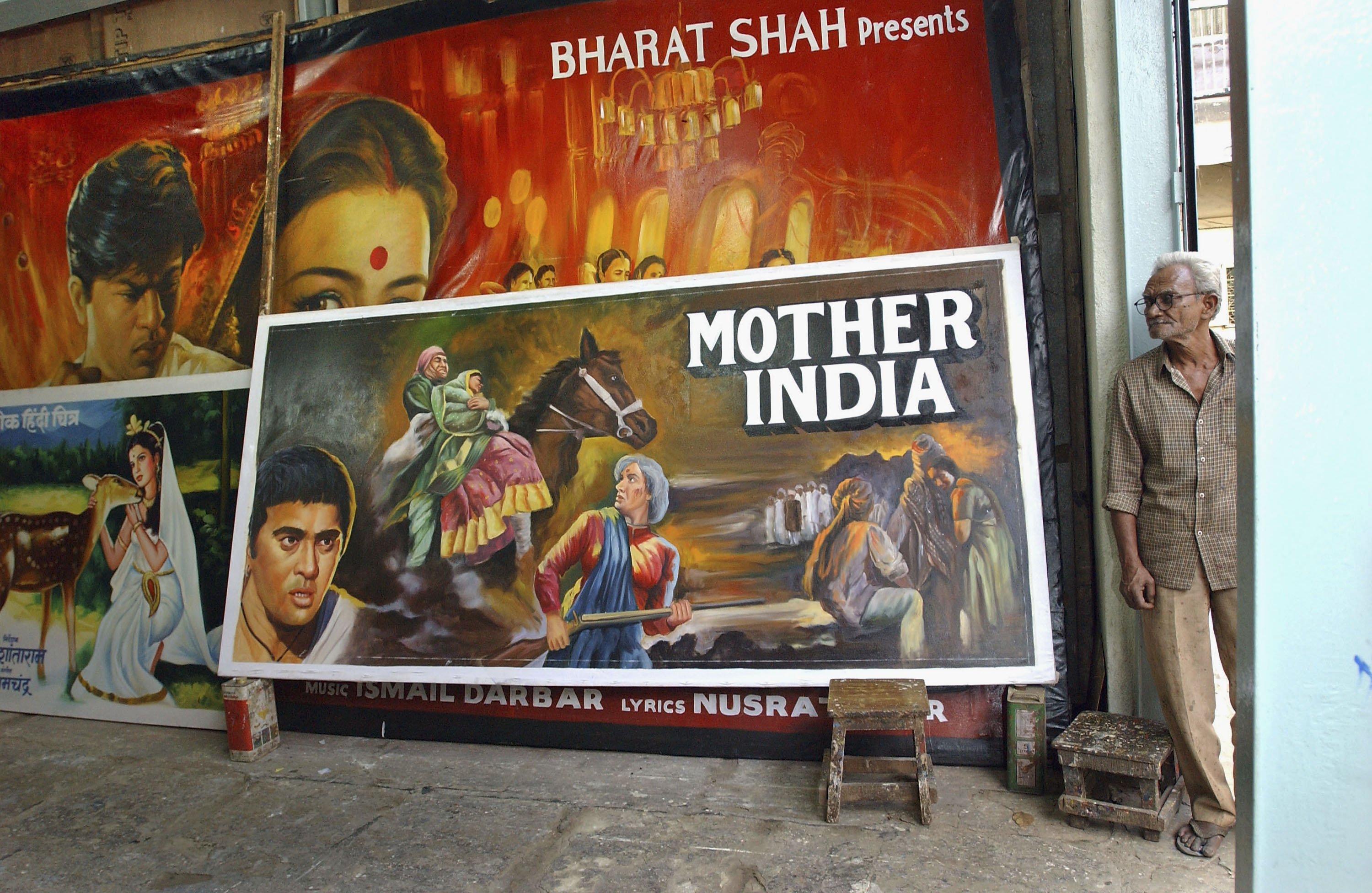 A collection of Bollywood posters in Mumbai