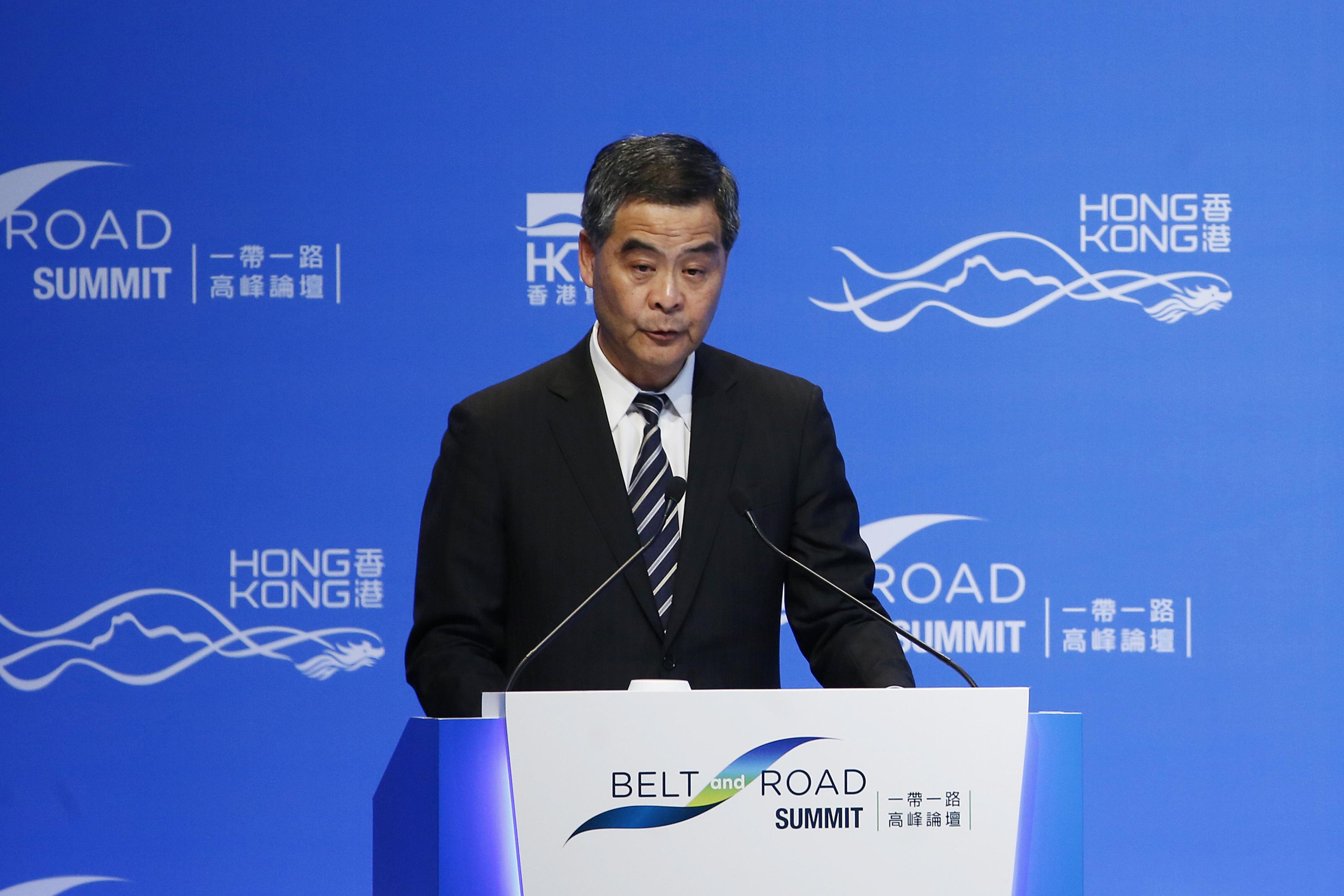 Leung Chun-ying, Hong Kong's chief executive, speaks at the Belt and Road Summit in Hong Kong, on Tuesday, May 18, 2016.