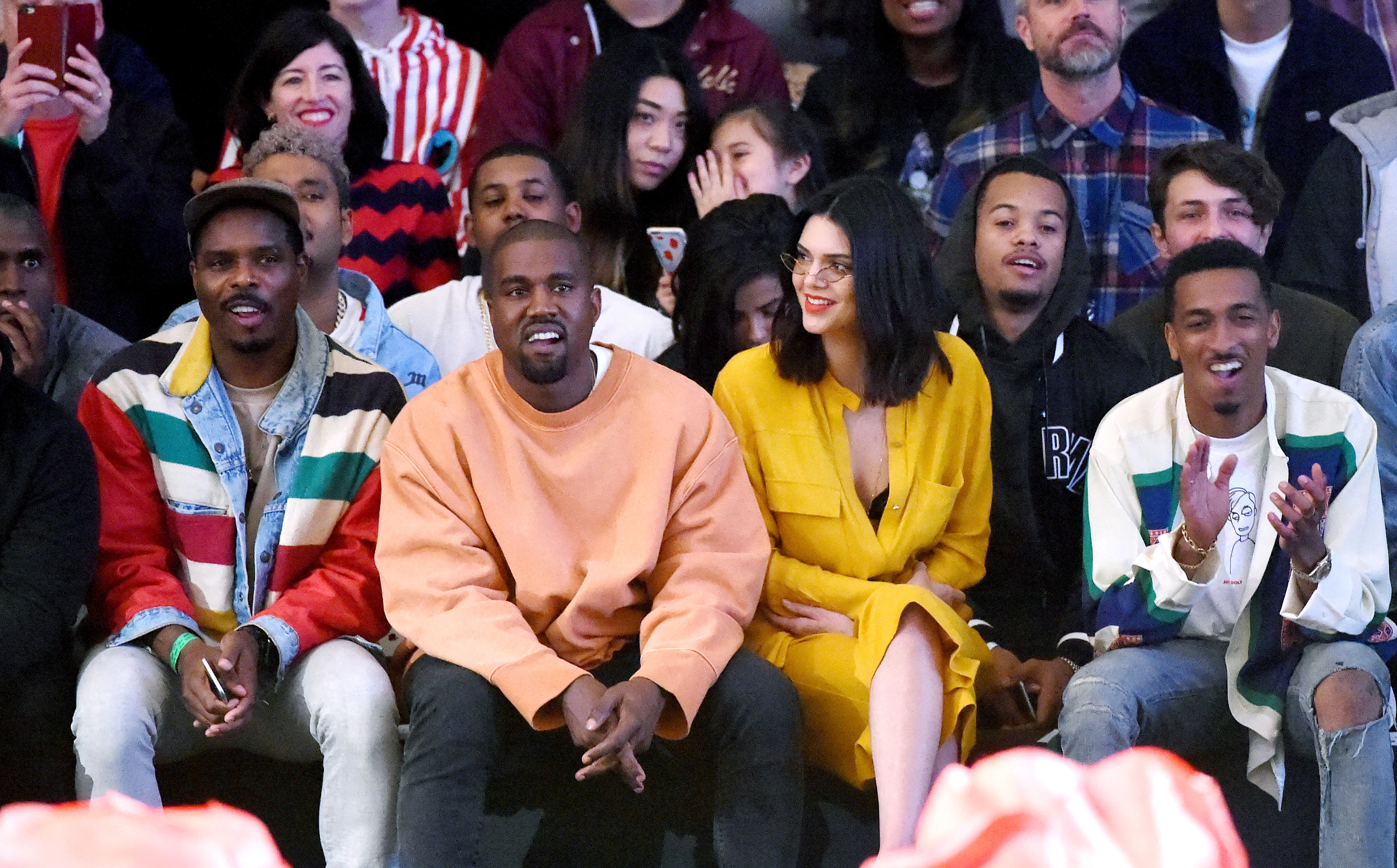 Kanye West and Kendall Jenner attend Tyler, the Creator's Fall/Winter 2016 fashion show for Made LA.