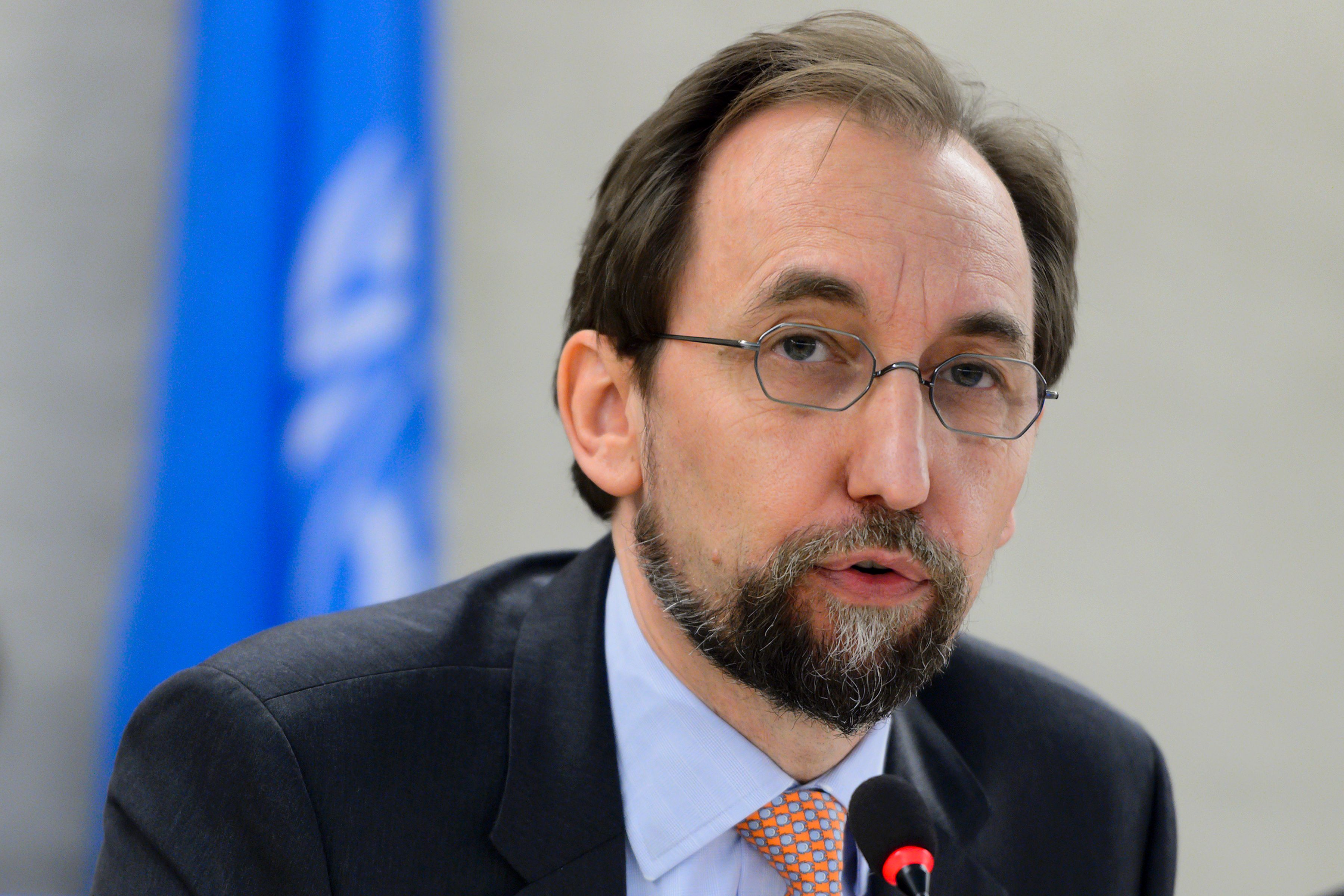 U.N. High Commissioner for Human Rights Zeid Ra'ad al-Hussein delivers a speech at the opening of a new council's session on June 13, 2016, in Geneva