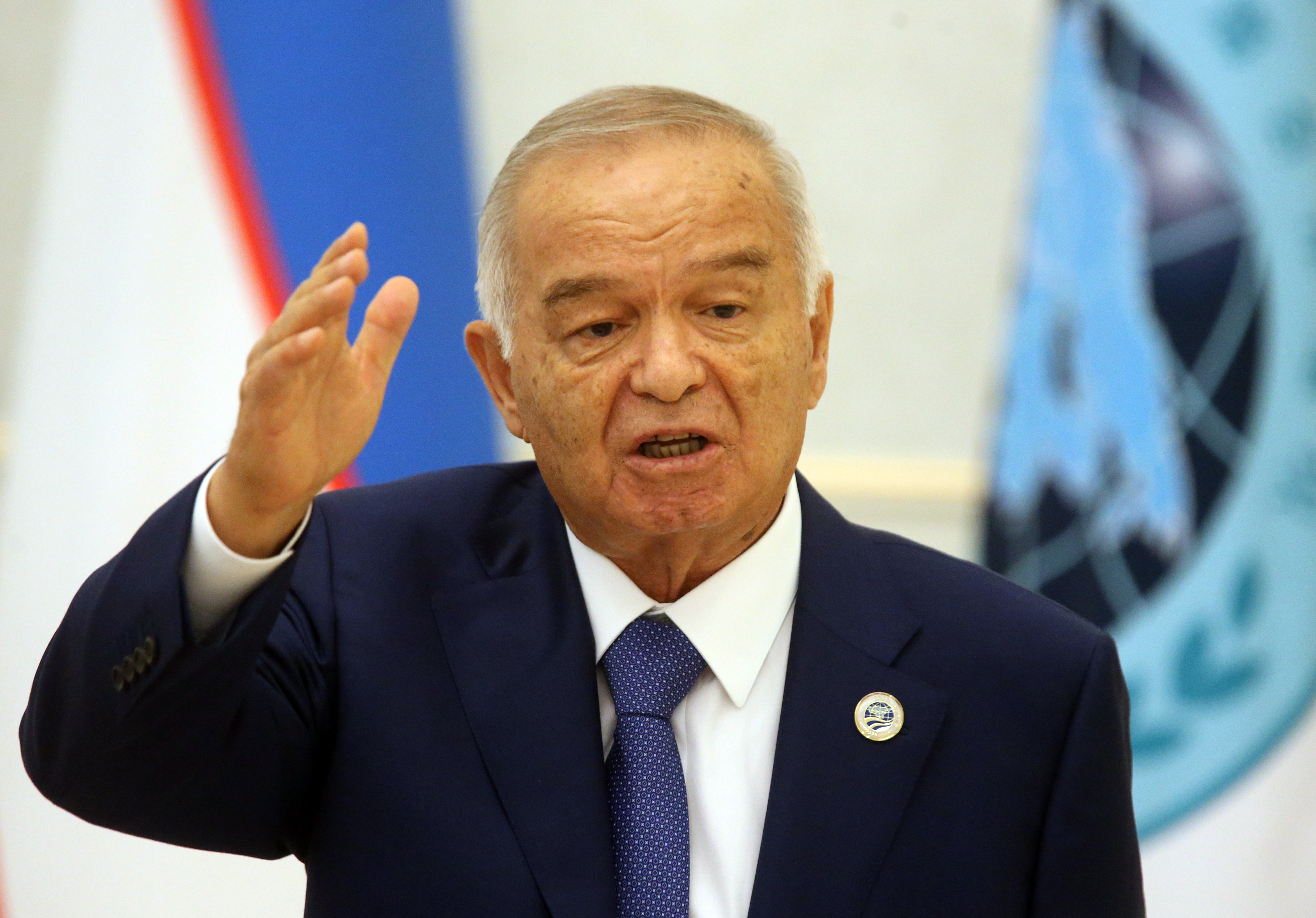 Uzbek President Islam Karimov speaks during the Shanghai Cooperation Organisation (SCO) Summit in Tashkent, Uzbekistan, on June 24, 2016.