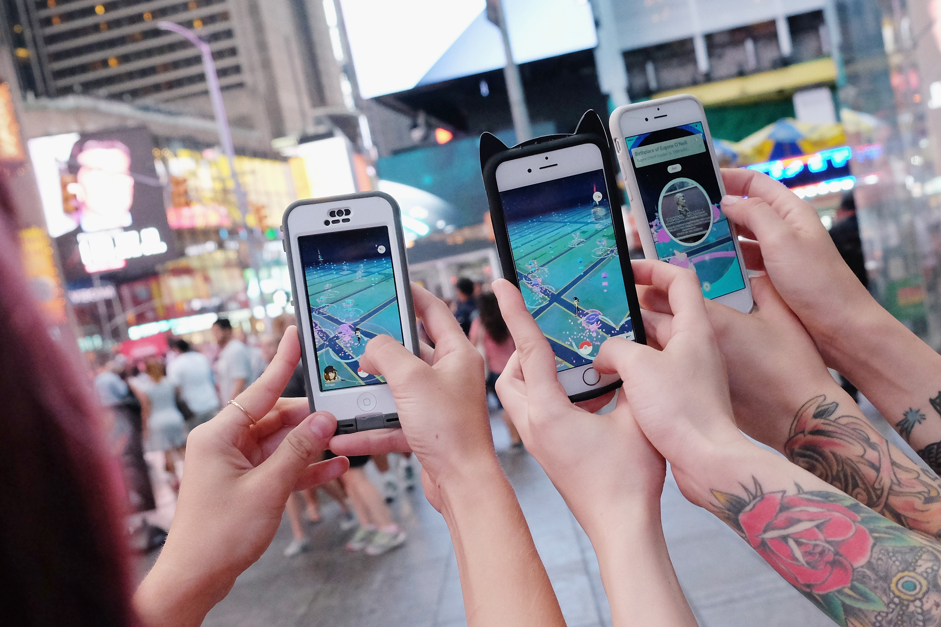 People play Pokemon Go in New York City on July 25, 2016