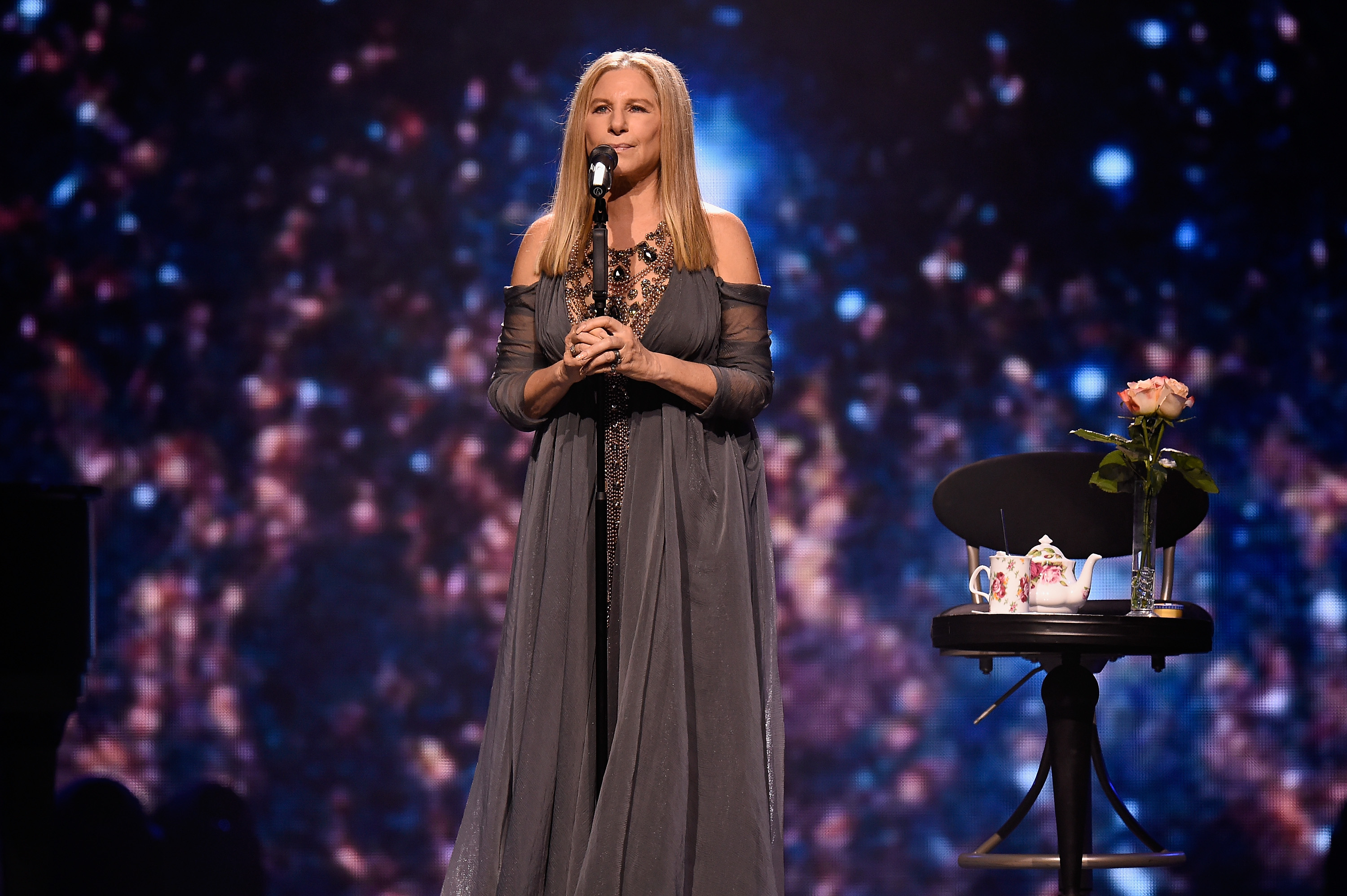 Barbra Streisand performs onstage during Barbra - The Music... The Mem'ries... The Magic! Tour at Barclays Center of Brooklyn on August 11, 2016 in New York.