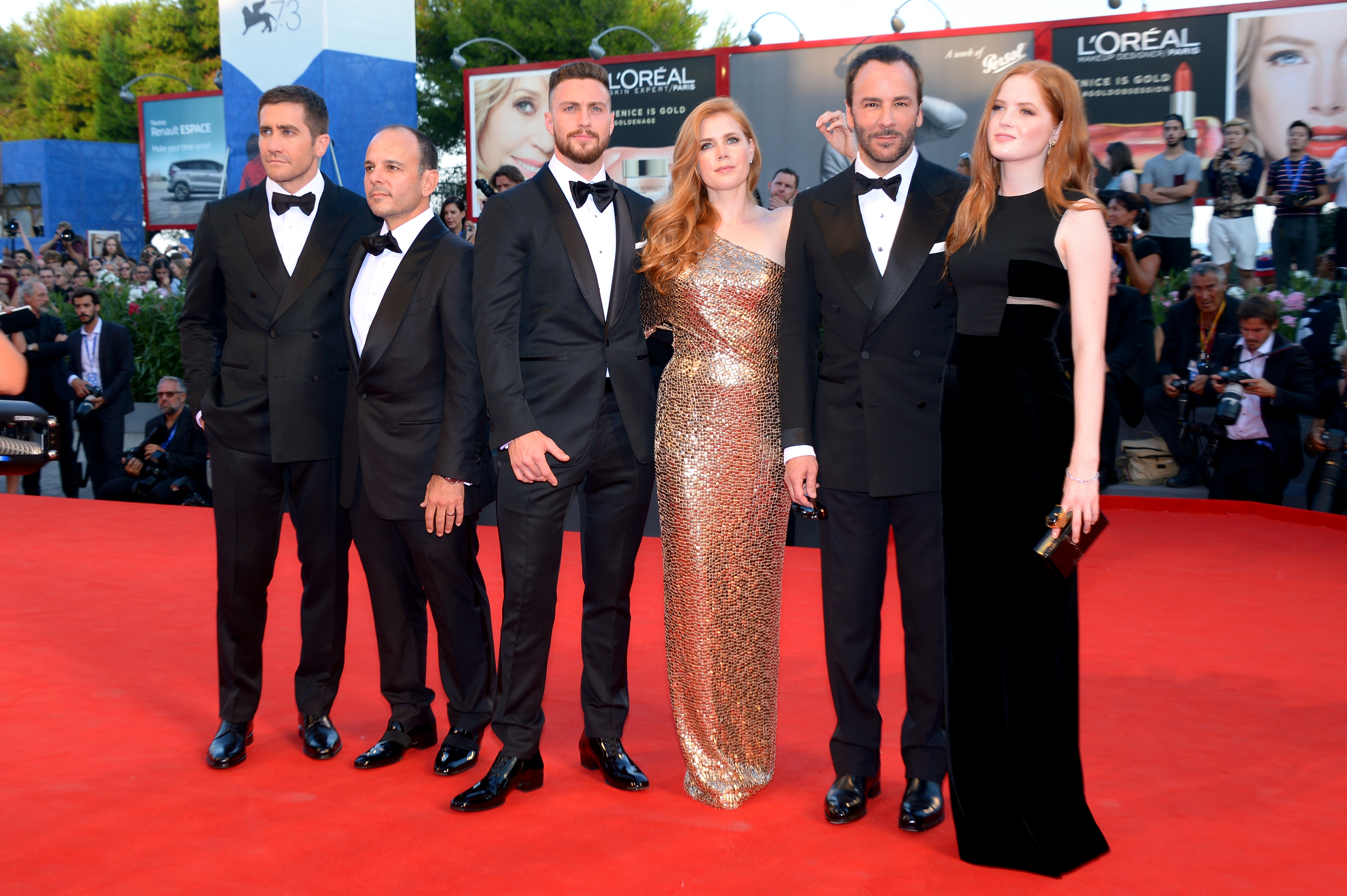 VENICE, ITALY - SEPTEMBER 02:  Jake Gyllenhaal, Robert Salerno, Aaron Taylor Johnson, Amy Adams, Tom Ford and Ellie Bamber  attend the premiere of 'Nocturnal Animals' during the 73rd Venice Film Festival at Sala Grande on September 2, 2016 in Venice, Italy.  (Photo by Dominique Charriau/WireImage)