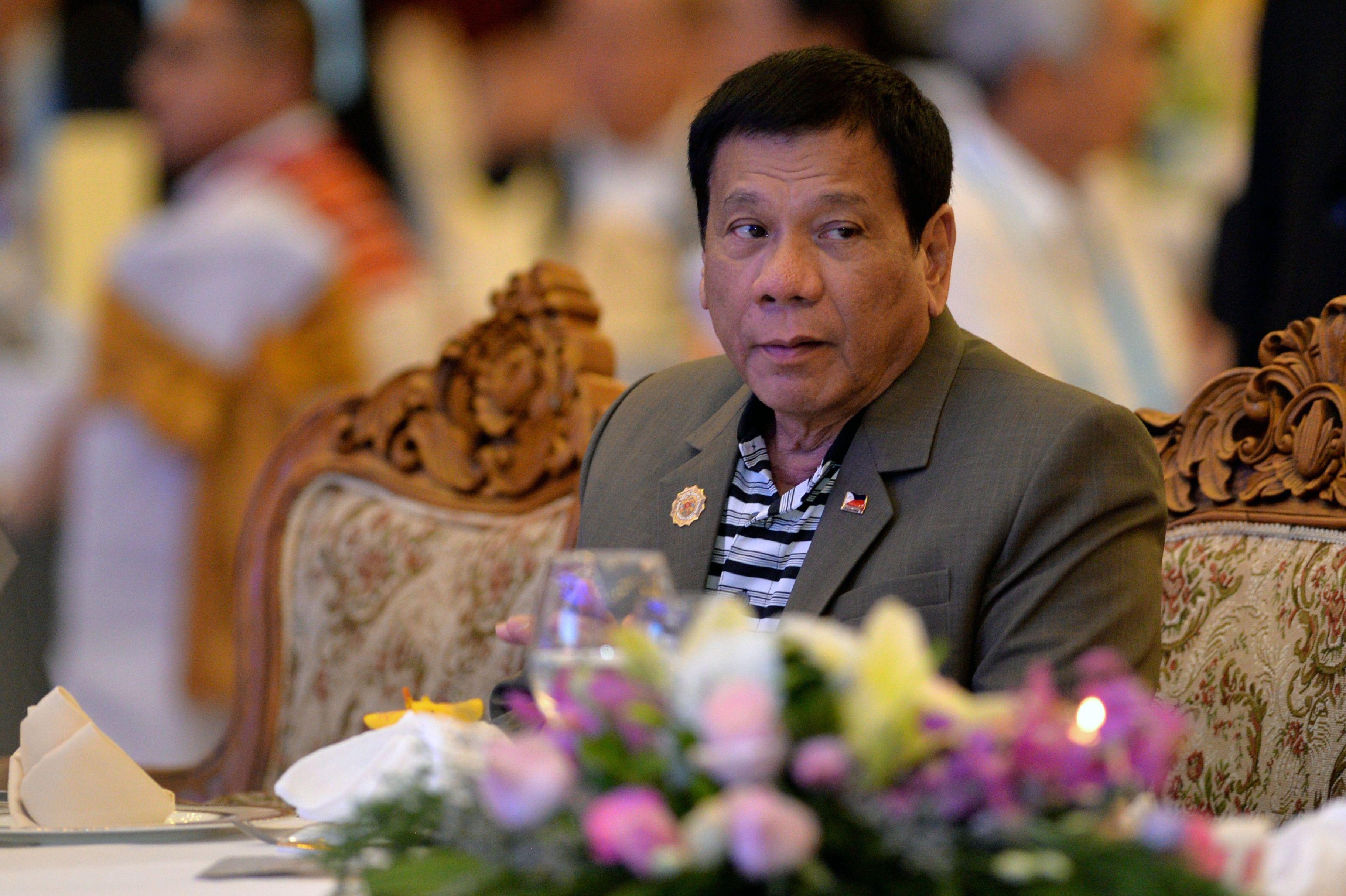 Philippine President Rodrigo Duterte attends a welcome dinner at the ASEAN Summit in Vientiane, Laos, on Sept. 6, 2016