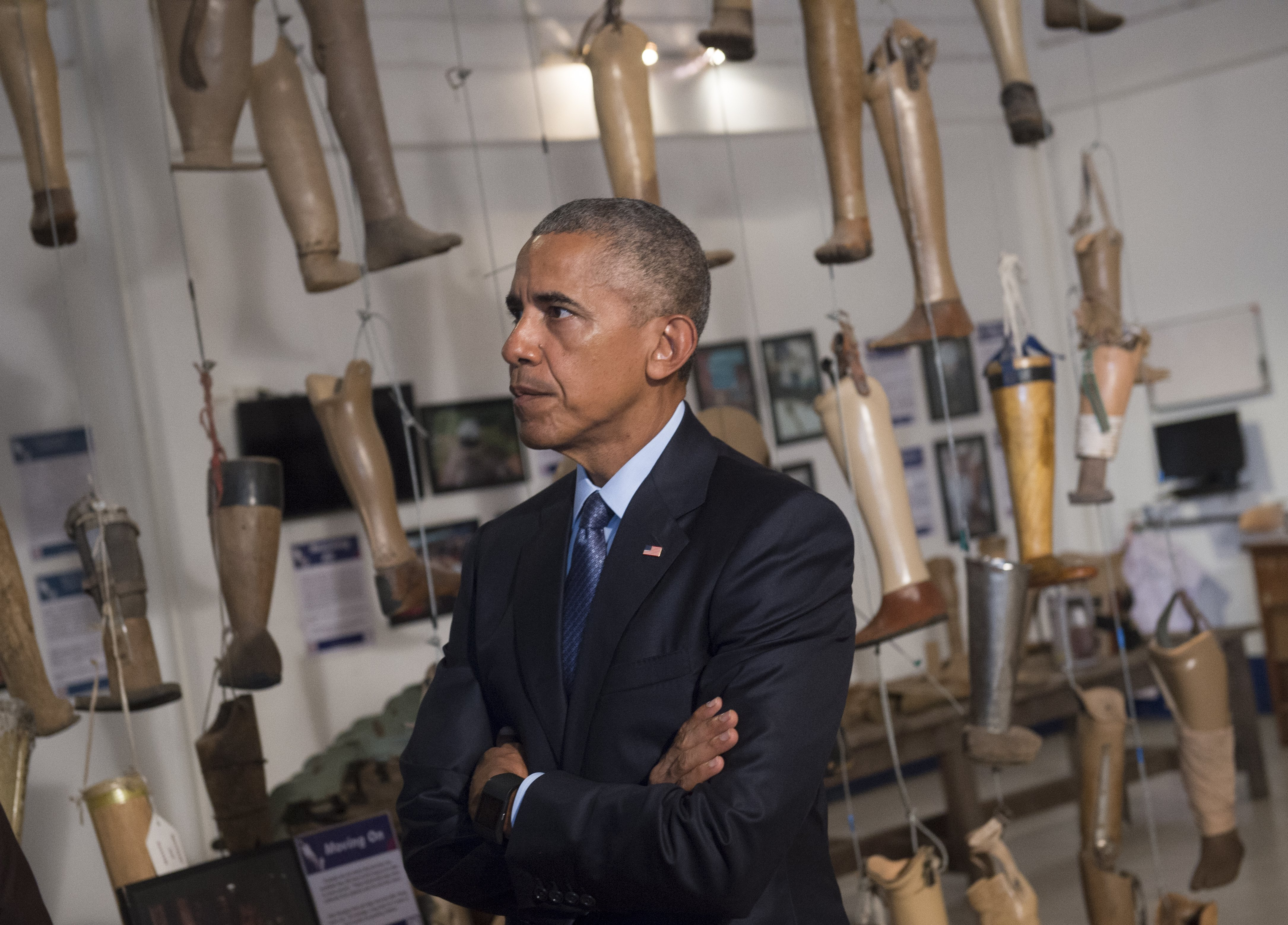 U.S. President Barack Obama tours the Cooperative Orthotic and Prosthetic Enterprise visitor center in Vientiane, Laos, on Sept. 7, 2016