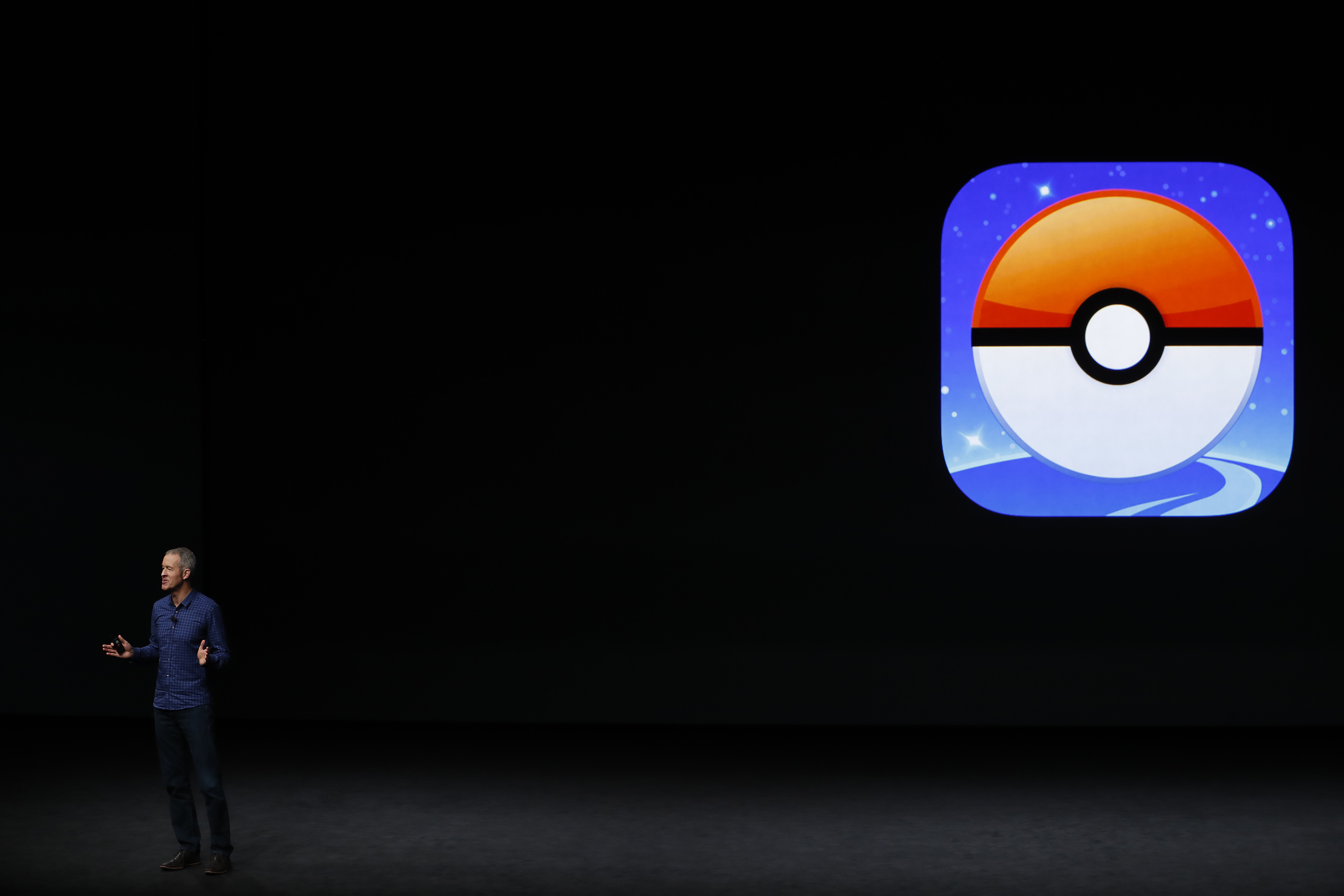 Apple COO Jeff Williams announces Pokemon Go for Apple Watch during a launch event on September 7, 2016 in San Francisco, California.