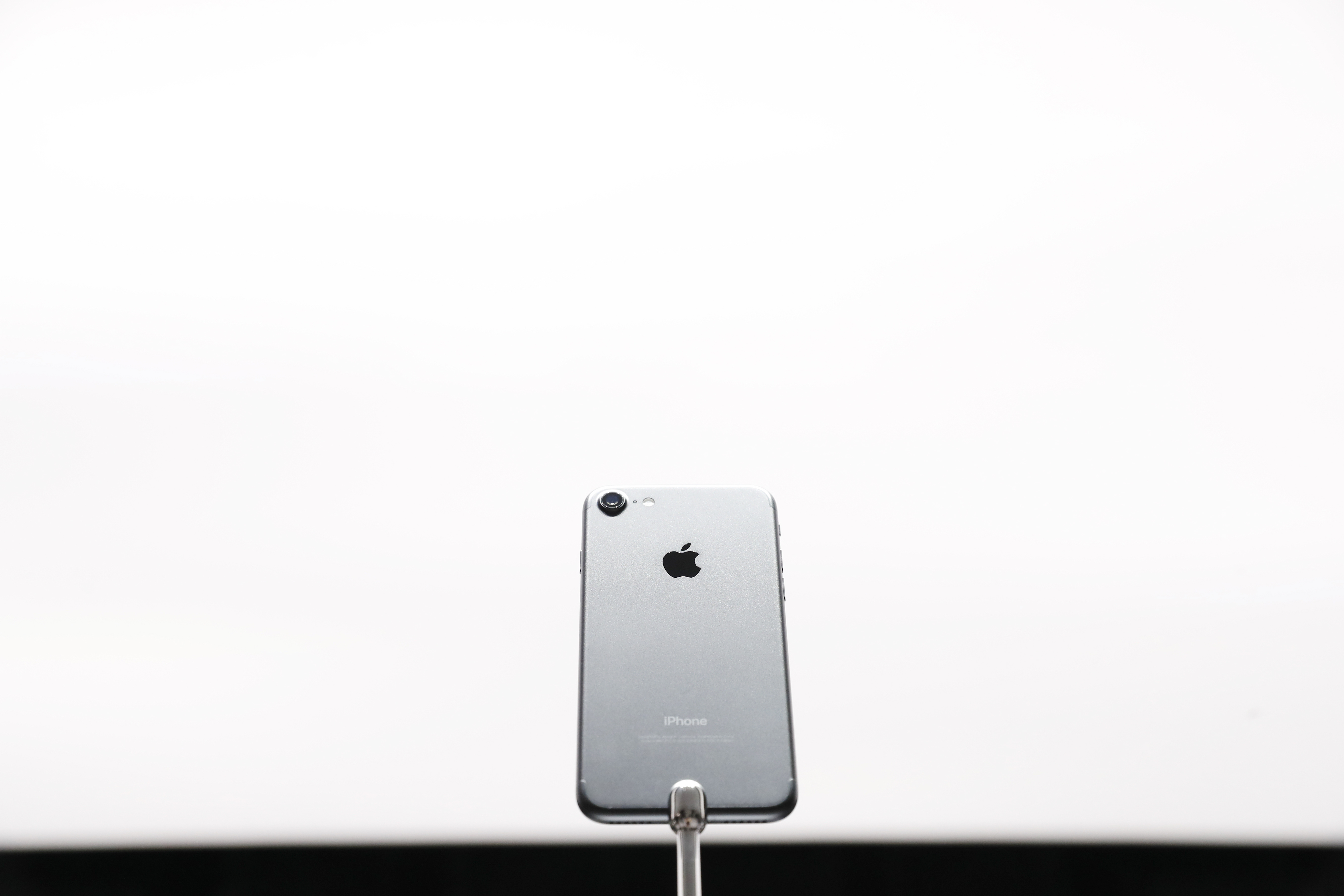 An Apple iPhone 7 is seen during a launch event on September 7, 2016 in San Francisco, California.