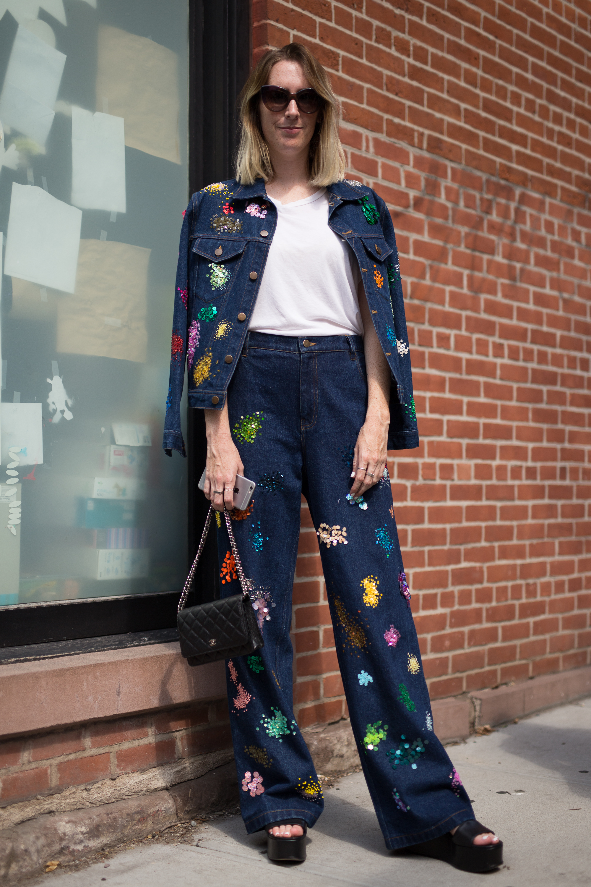 Sarah Owen's dark blue Canadian tuxedo got a playful update with colorful splashes of  paint  embellishment.