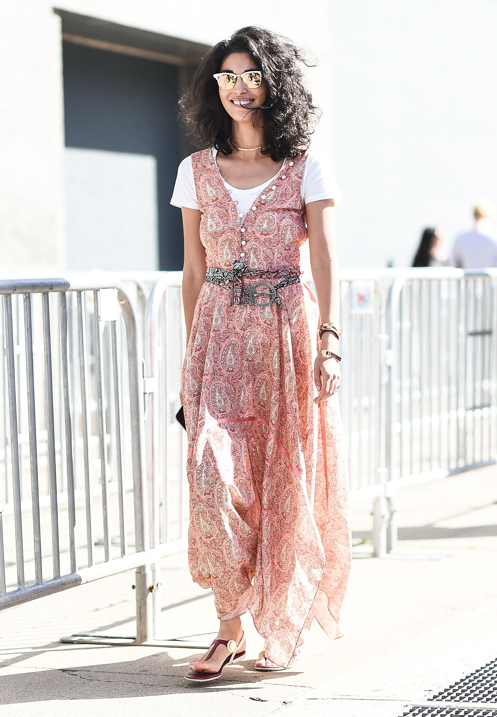Caroline Issa took this trend in a bohemian direction with a flowy maxi dress and flat sandals.