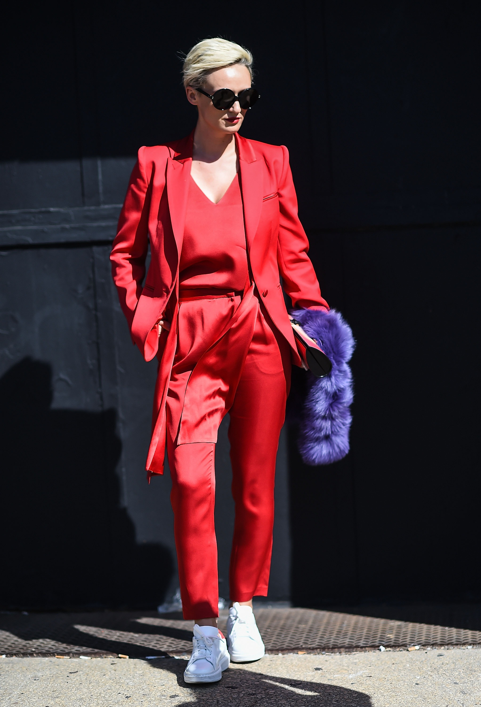 Monochromatic: Head-to-toe colorways reigned on the street-style scene this season.  Bold hues and sleek silhouettes ensure that this trend will help you stand out, no matter what the occasion.