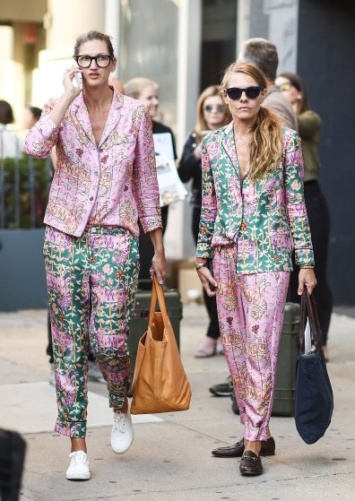 Jenna Lyons and Courtney Crangi mixed and matched a floral pajama set to perfection.