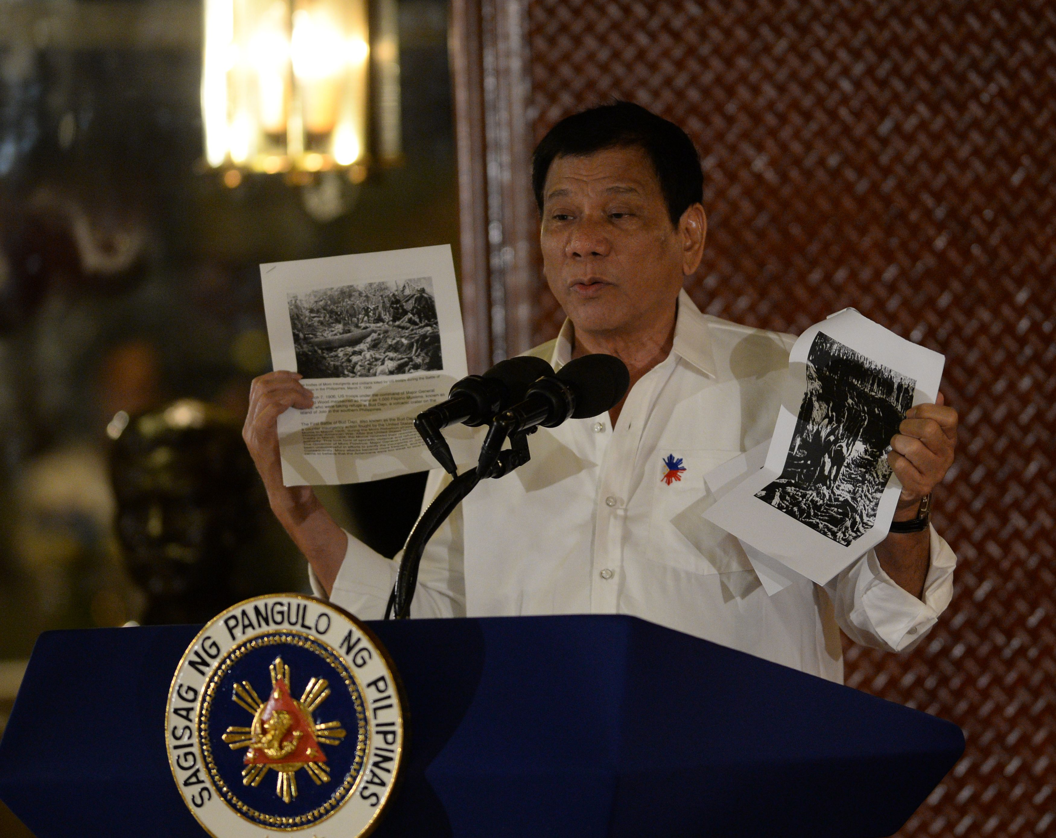 Philippine President Rodrigo Duterte in Manila on Sept. 12, 2016, cites accounts of U.S. troops who killed Muslims during the U.S.'s occupation of the Philippines in the early-1900s