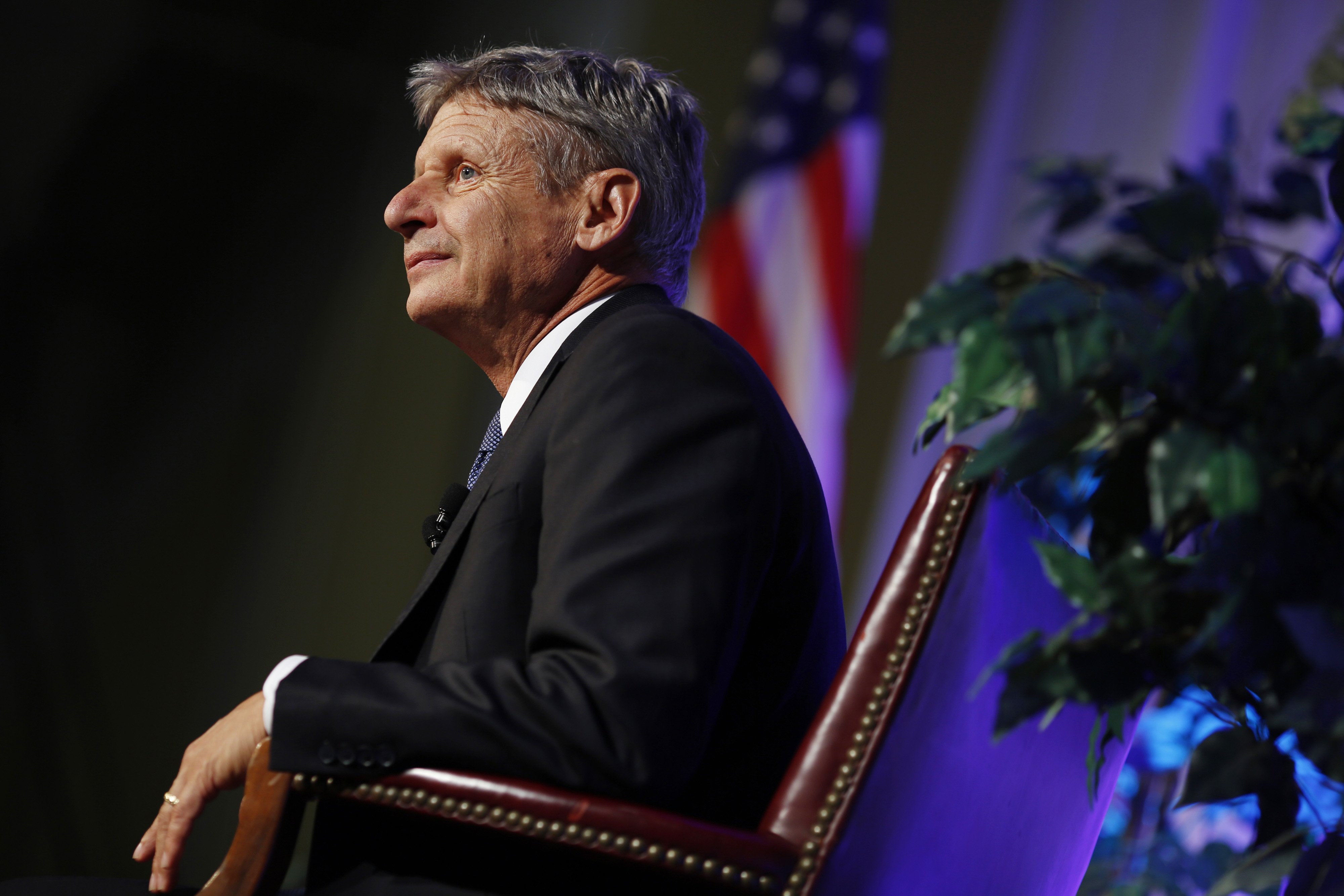 Gary Johnson, 2016 Libertarian presidential nominee, listens during a campaign event at Purdue University in West Lafayette, Indiana, U.S., on Tuesday, Sept. 13, 2016.